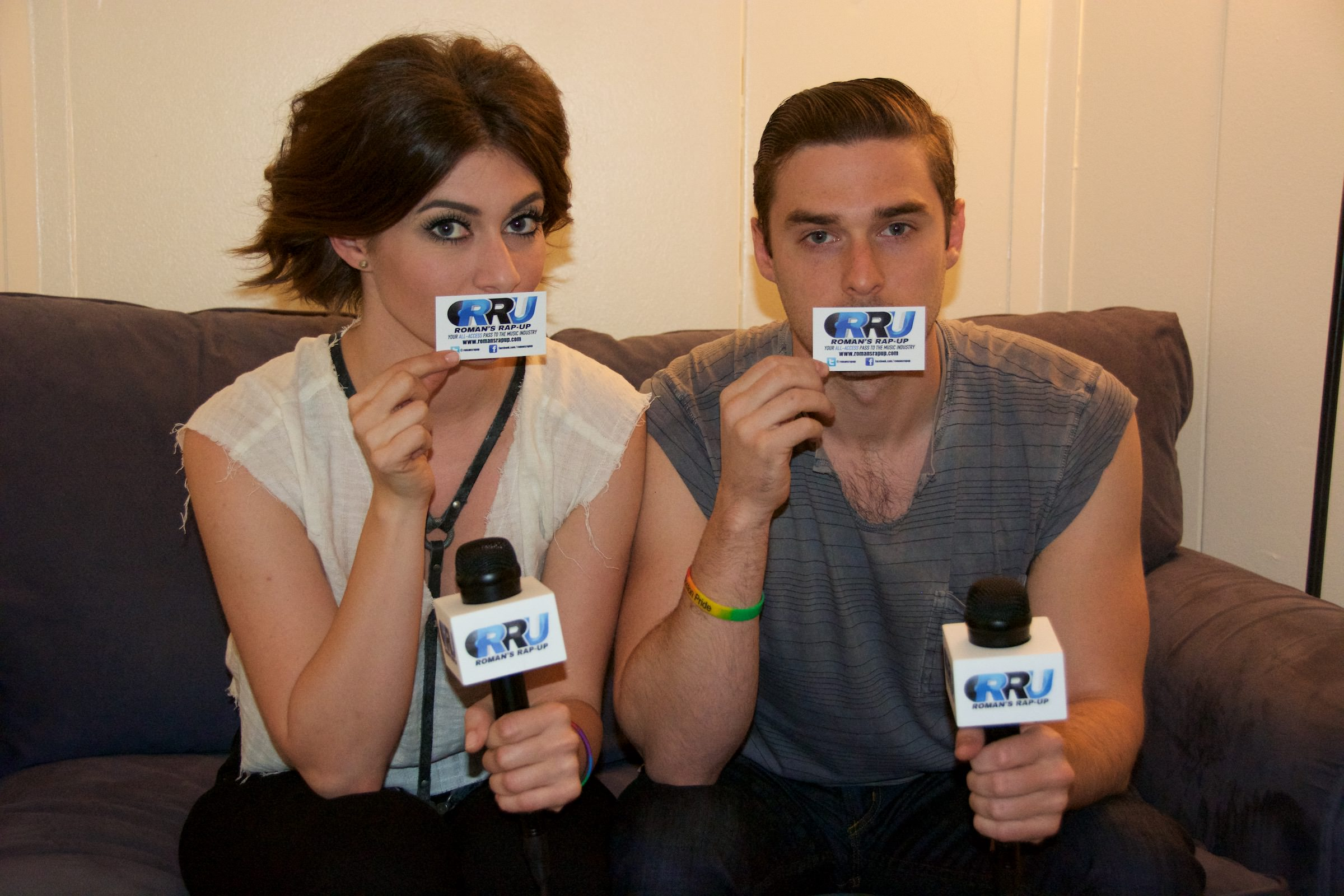 Amy Heidemann (left) and Nick Noonan (right) of Karmin pose for Roman's Rap-Up (Benjamin Esakof/Roman's Rap-Up).