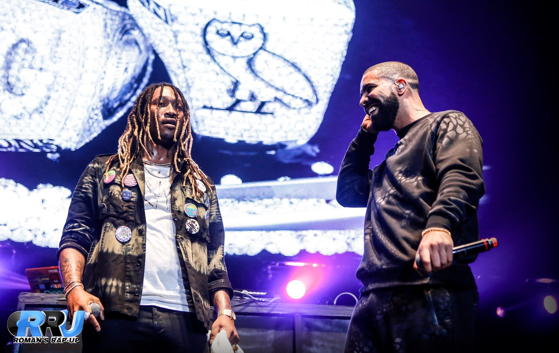 """Drake makes a surprise appearance with Future at Real 92.3's """"Real Show"""" on November 8th, 2015 (Gibson Dintersmith/Roman's Rap-Up)."""
