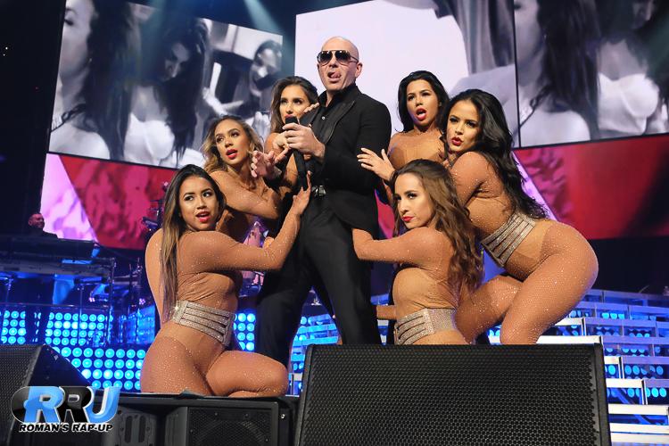 "Pitbull performs at the TD Garden in Boston as part of his ""Badman Tour"" on August 12th, 2016 (RJ Jaczko/Roman's Rap-Up)."