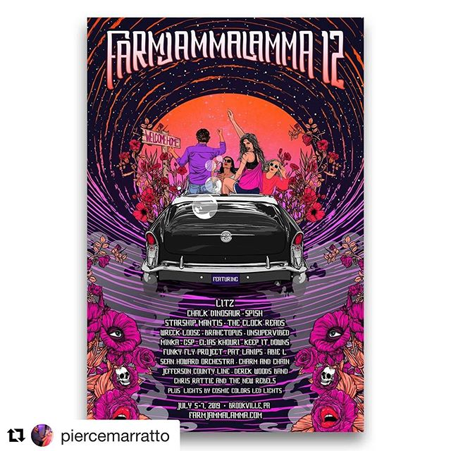 #Repost @piercemarratto ・・・ New #posterart for Farm Jammalamma 12! This is always my favorite poster of the year. Hell..my favorite festival of the year. Check the poster out, get your tickets, and come #getweird with us. As always, thanks for looking. Feedback is always welcome. More work available at MarrattoArt.work. #FarmJammDirtyD #dirtydozen #gigposter #festivalposter #musicfestival #showposter #posterartist #psychedelicart #psychedelia #illustration #illustrator #art #drawing #classiccars #partytimeexcellent