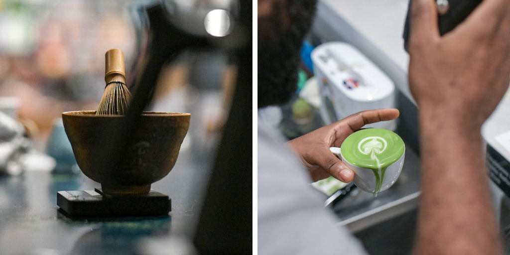Left: a matcha bowl and whisk,  chawan  and  chasen.  Right: A barista prepares a matcha latte, one of the most prevalent ways matcha is enjoyed today. (Photos:  Daniel Mendoza, Spirit Tea )