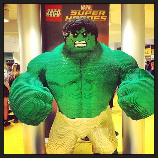 A gigantic version of The Incredible Hulk stands guard inside the Lego Store at Downtown Disney in Orlando, Florida.