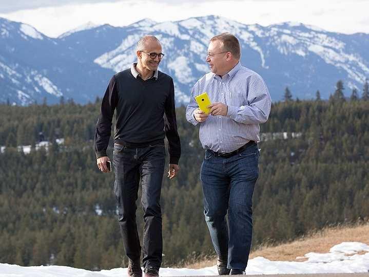 Microsoft CEO Satya Nadella (left) with VP Stephen Elop.