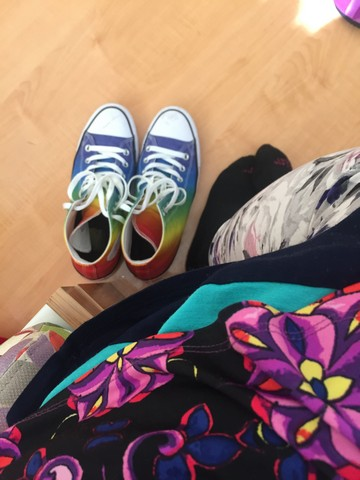 - My rainbow shoesBrought me some cheerFriend brought dinner,Healing gifts, we hold dear
