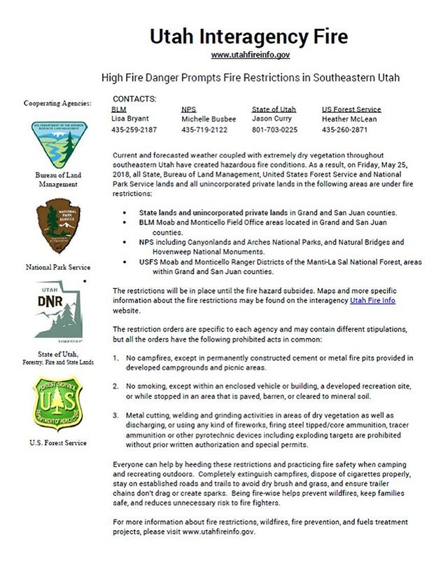 Headed to Indian Creek or Moab for the holiday weekend? Keep campfires to established fire rings because Southeast Utah is currently under fire restrictions. Be safe, stay safe!  Your friends at AAG