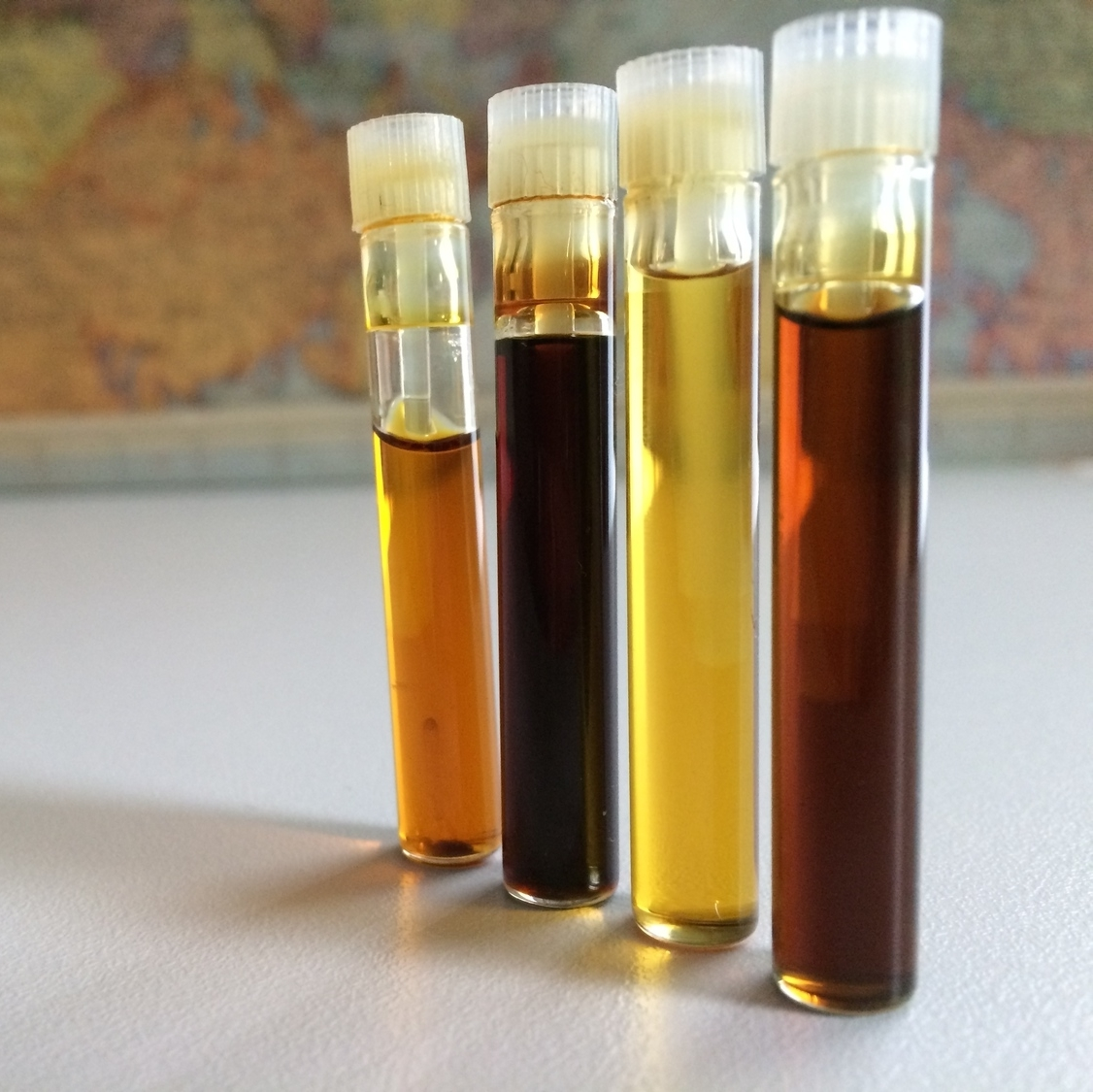 Vetiver oils from Sri Lanka, Indonesia, and Haiti.