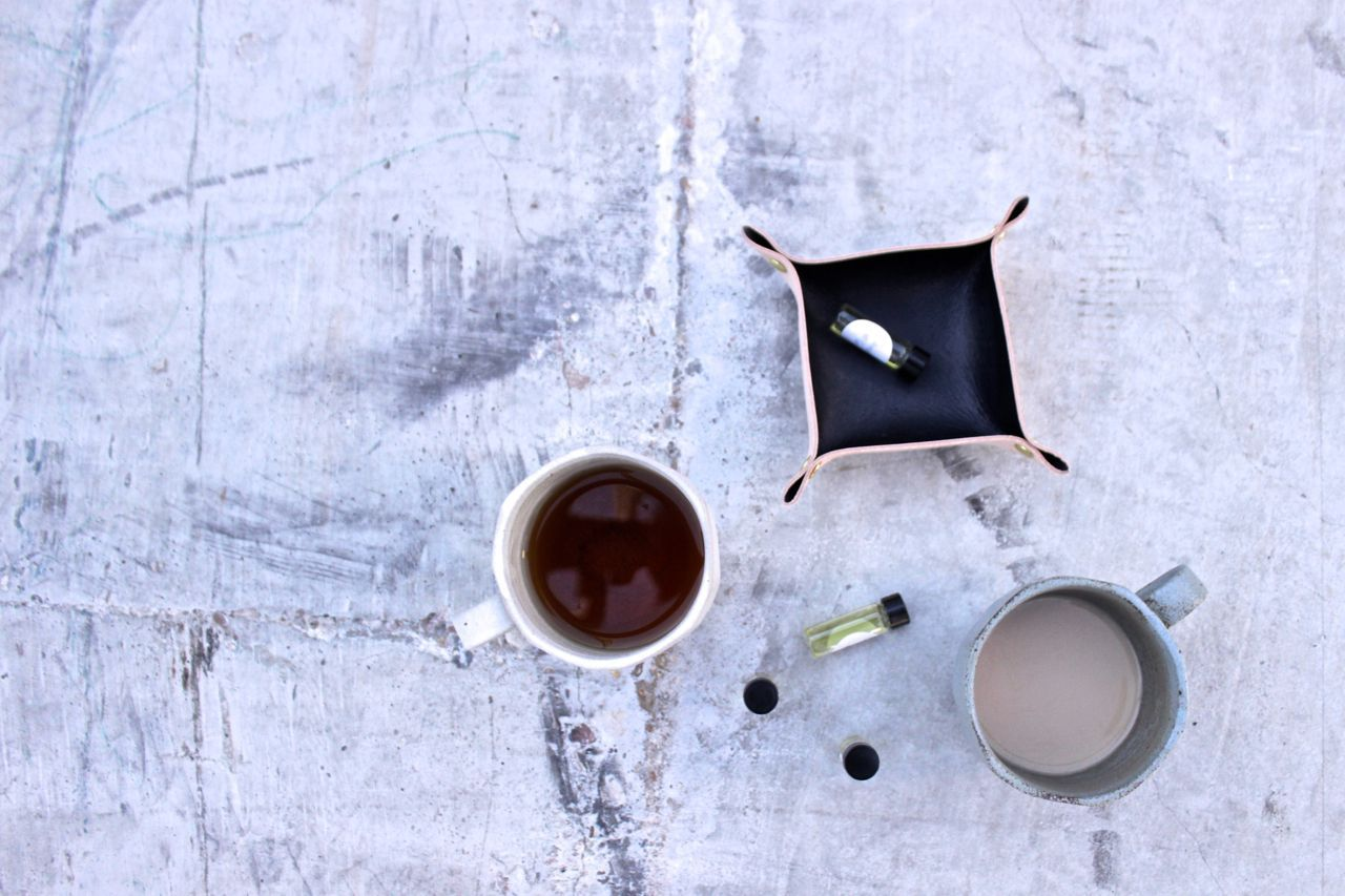 Tea and samples in a leather Canoe tray.