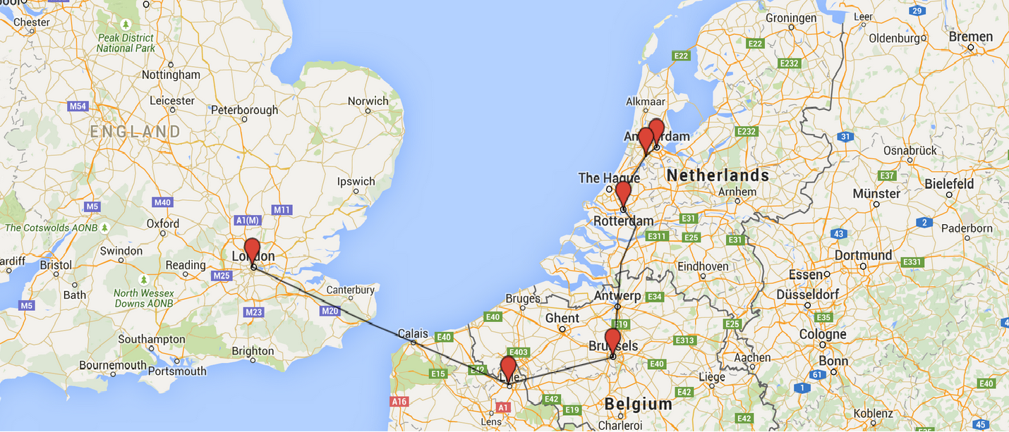 A map of the journey from Amsterdam to London and stopping points. I just have to hope it stops at Rotterdam...