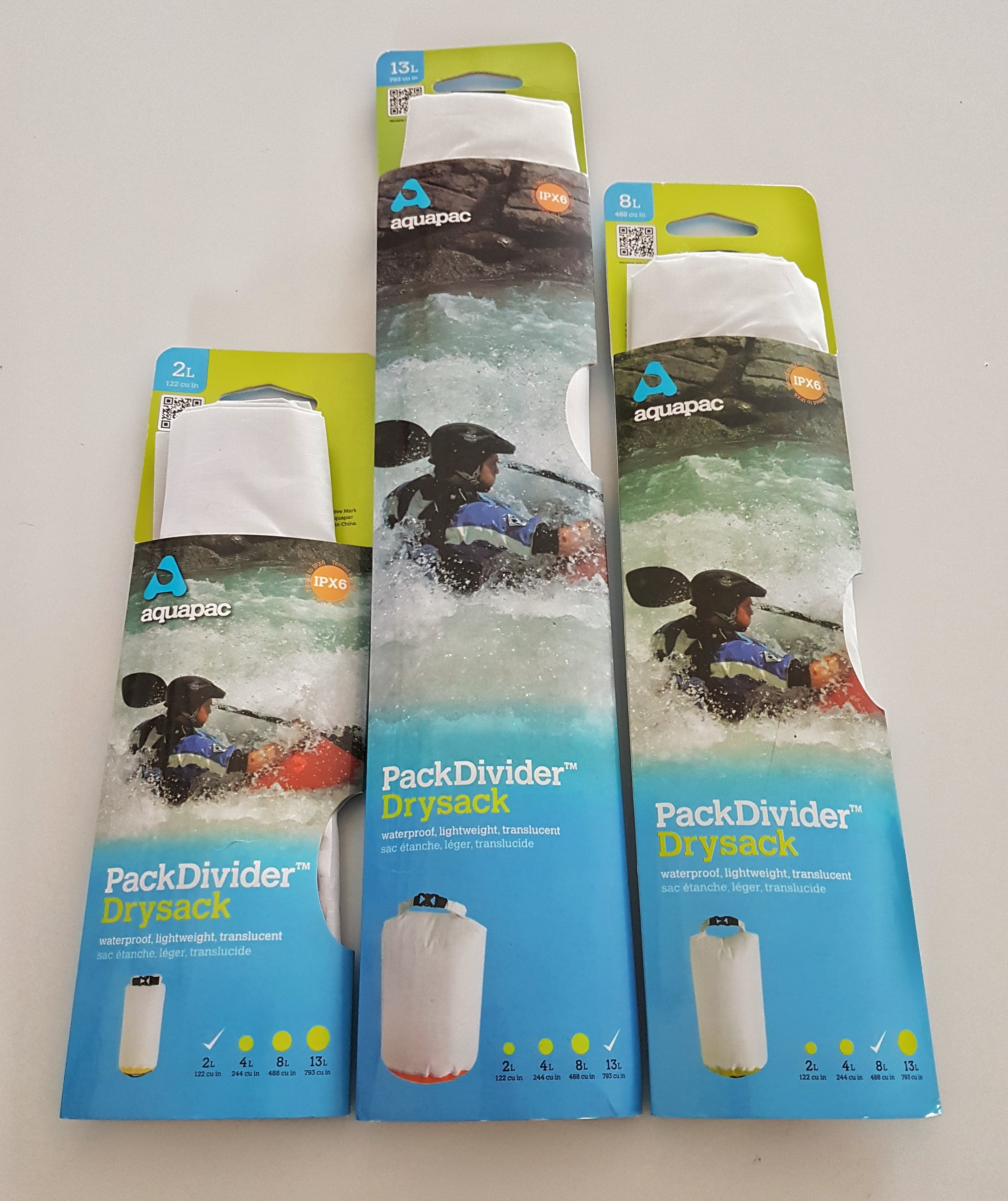 The  Aquapac Drysack  dividers are fabulous and again I cannot fault their overall design, quality and usefulness.  On my cycle commute, I use them to pack in all manner of things. Allowing them to stay safe and secure, within my pannier bags. Perfectly waterproof, light and durable.