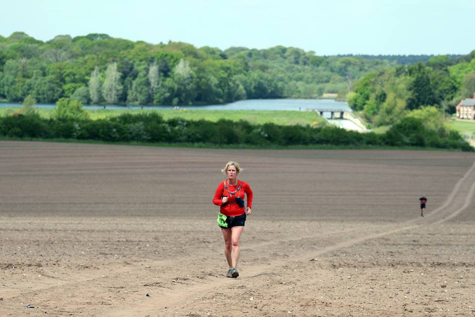 Rachel heading out and running the Dukeries Ultra Marathon in rural Nottinghamshire.