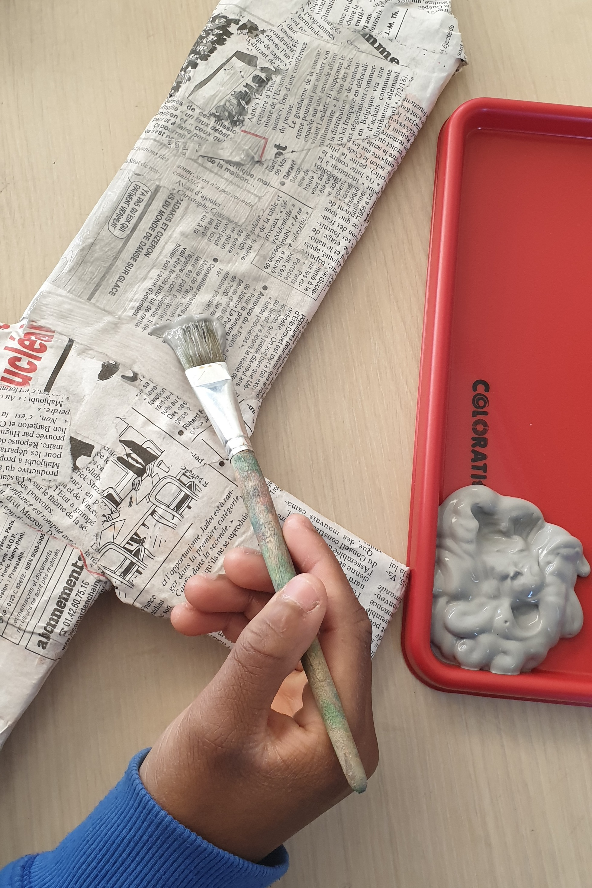 Begin painting and spread paint evenly.