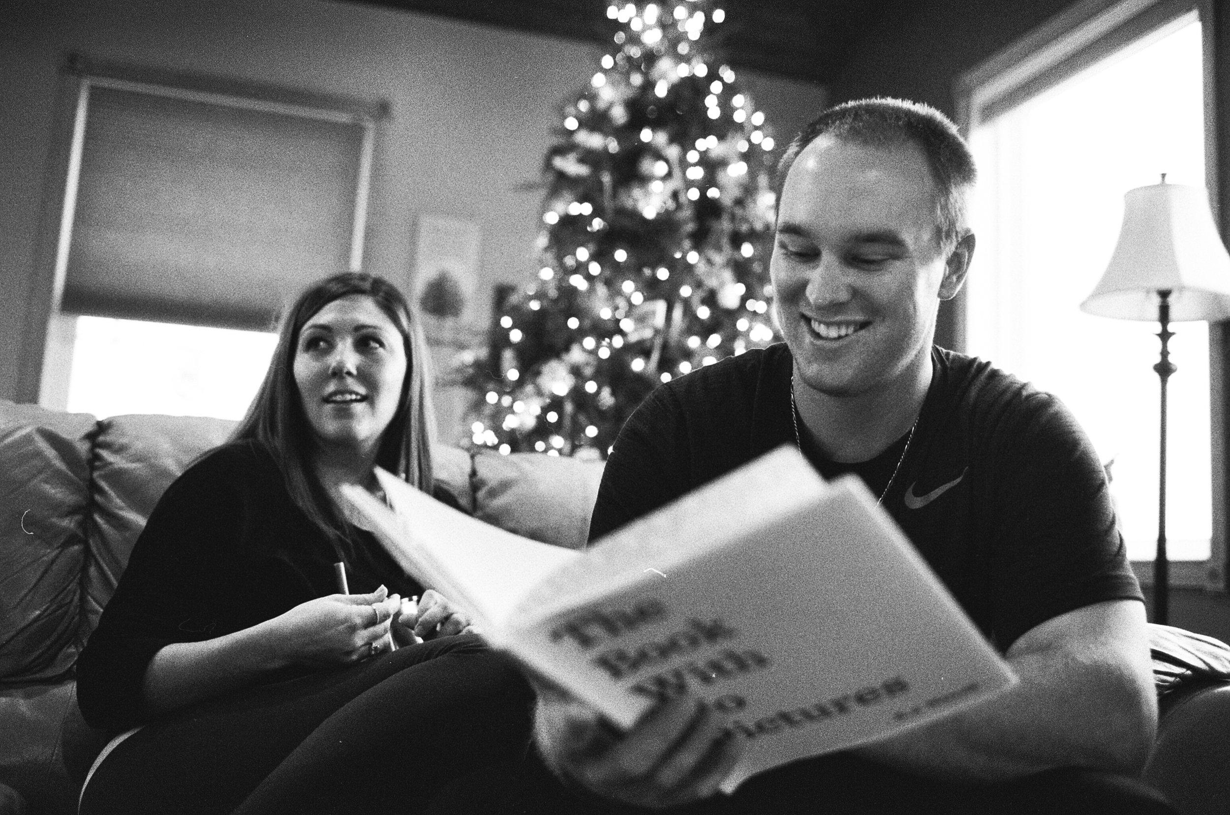 Small Christmas Wedding Photographer at Home Black and White Film