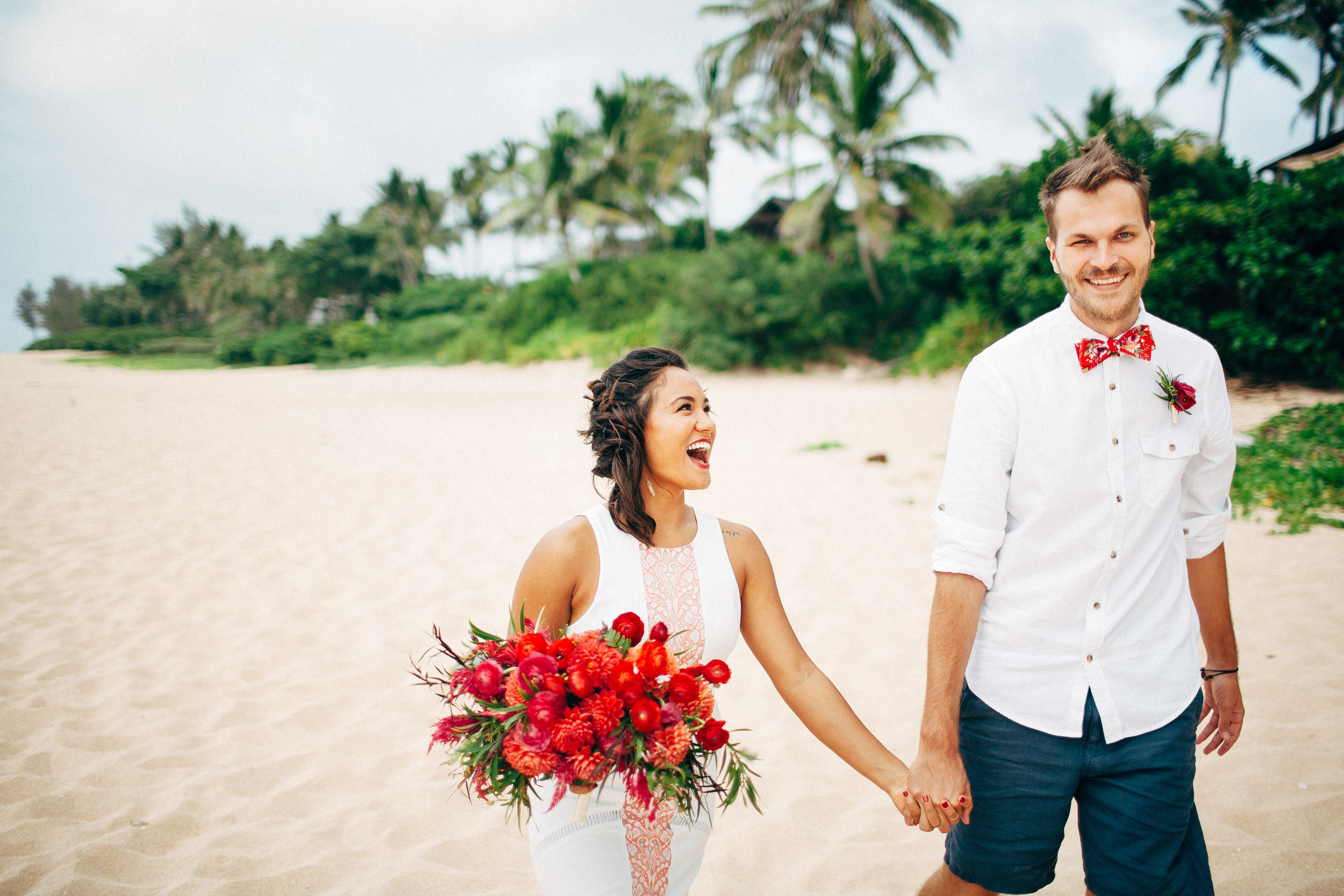 Unique Eclectic Vibrant and Colorful Private Elopement for Two by the Ocean Lake with Burgers and Beer with a Rent the Runway Gown