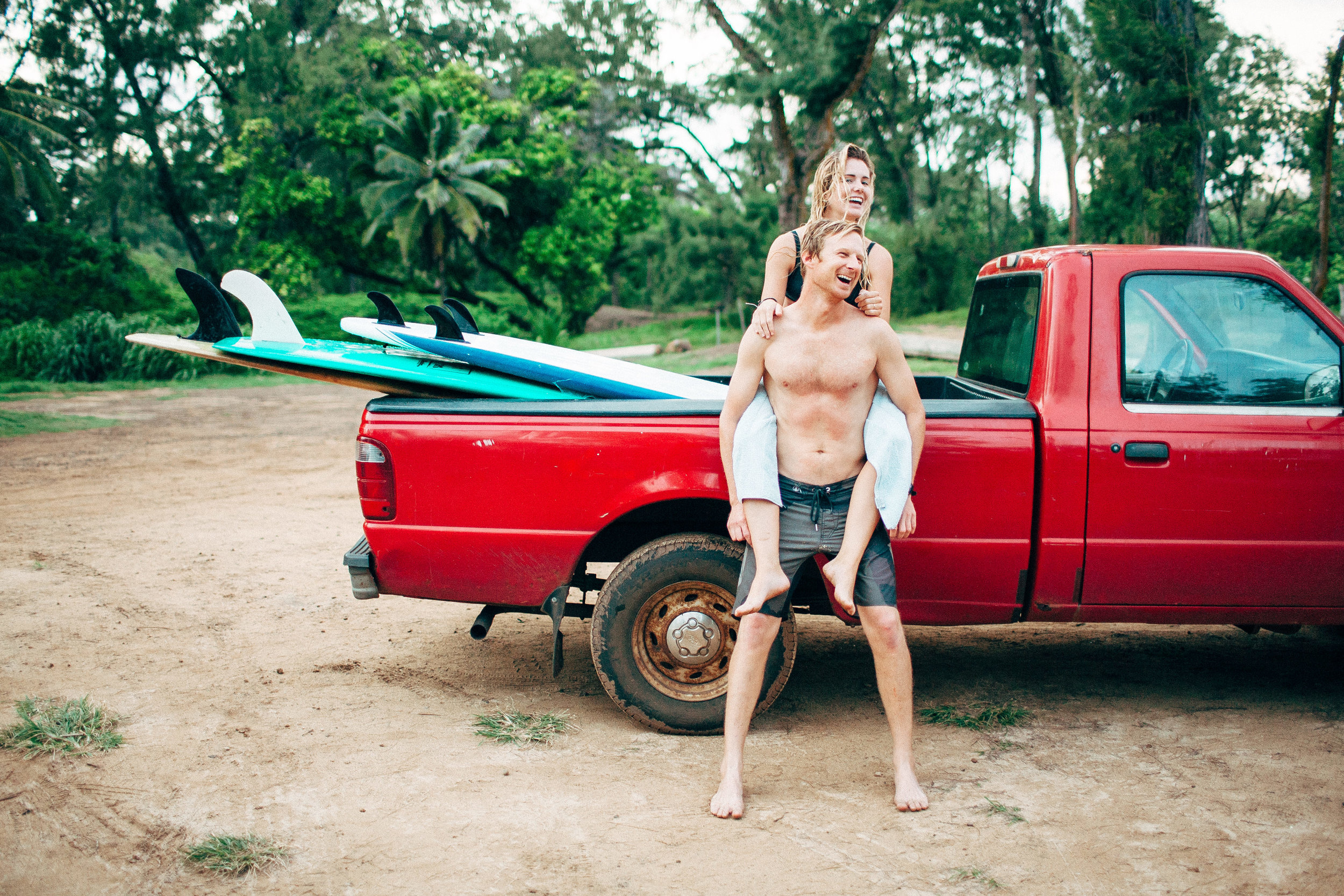 Day After Wedding Couple Adventure Session on Oahu's North Shore