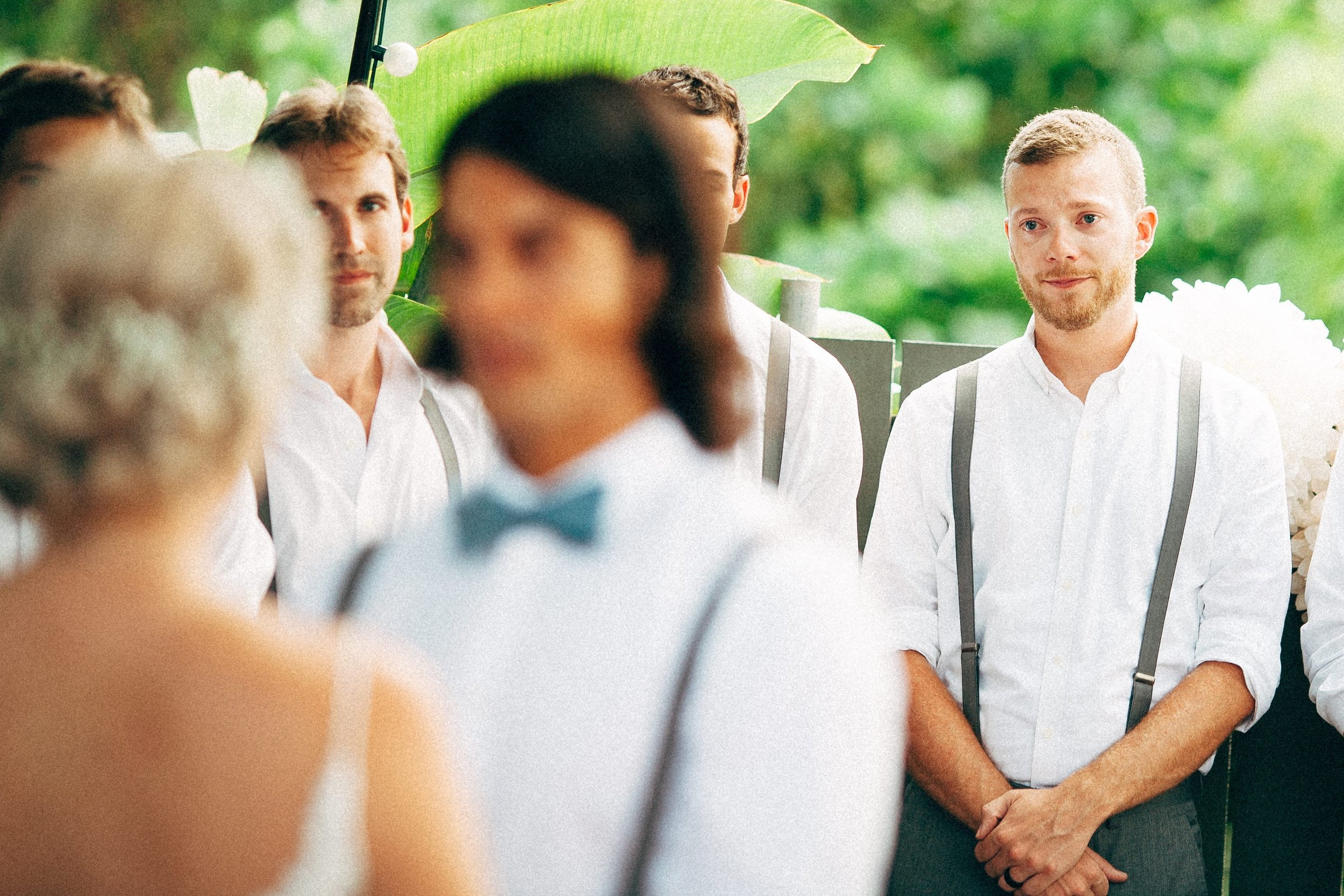 One of J&C's groomsmen during their vows.