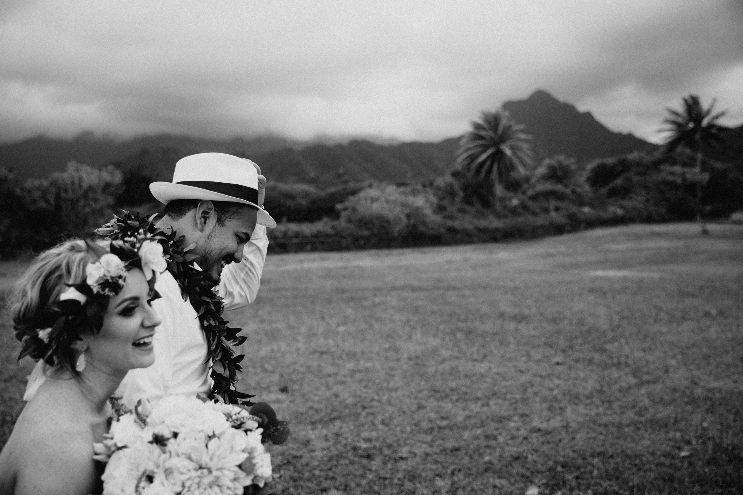 Jenn & Chris's joy and excitement right after their wedding in Kualoa Ranch (aka Jurassic Valley)