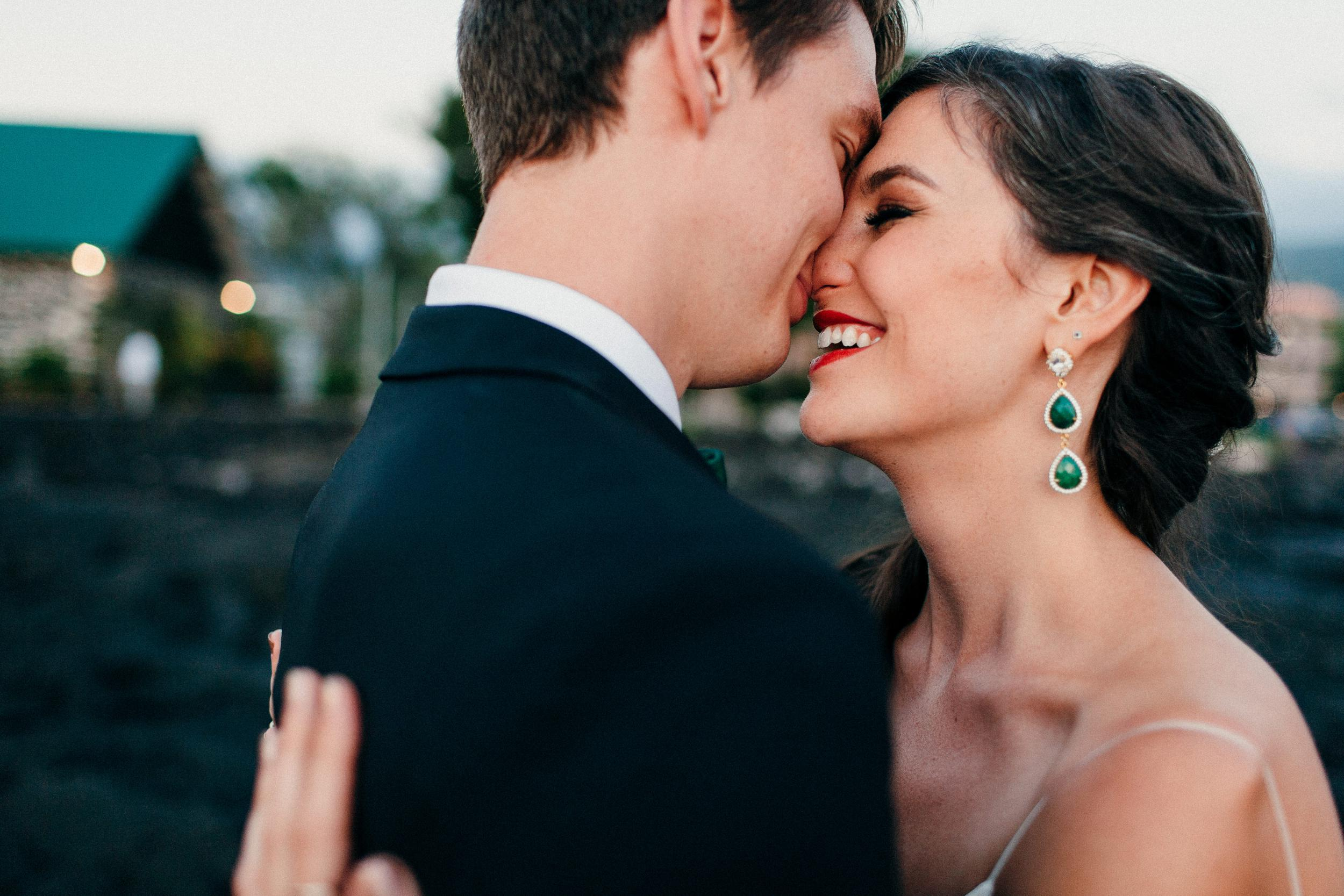 A portrait of Libby & Pete at sunset for their New Year's Eve wedding on the Big Island of Hawaii