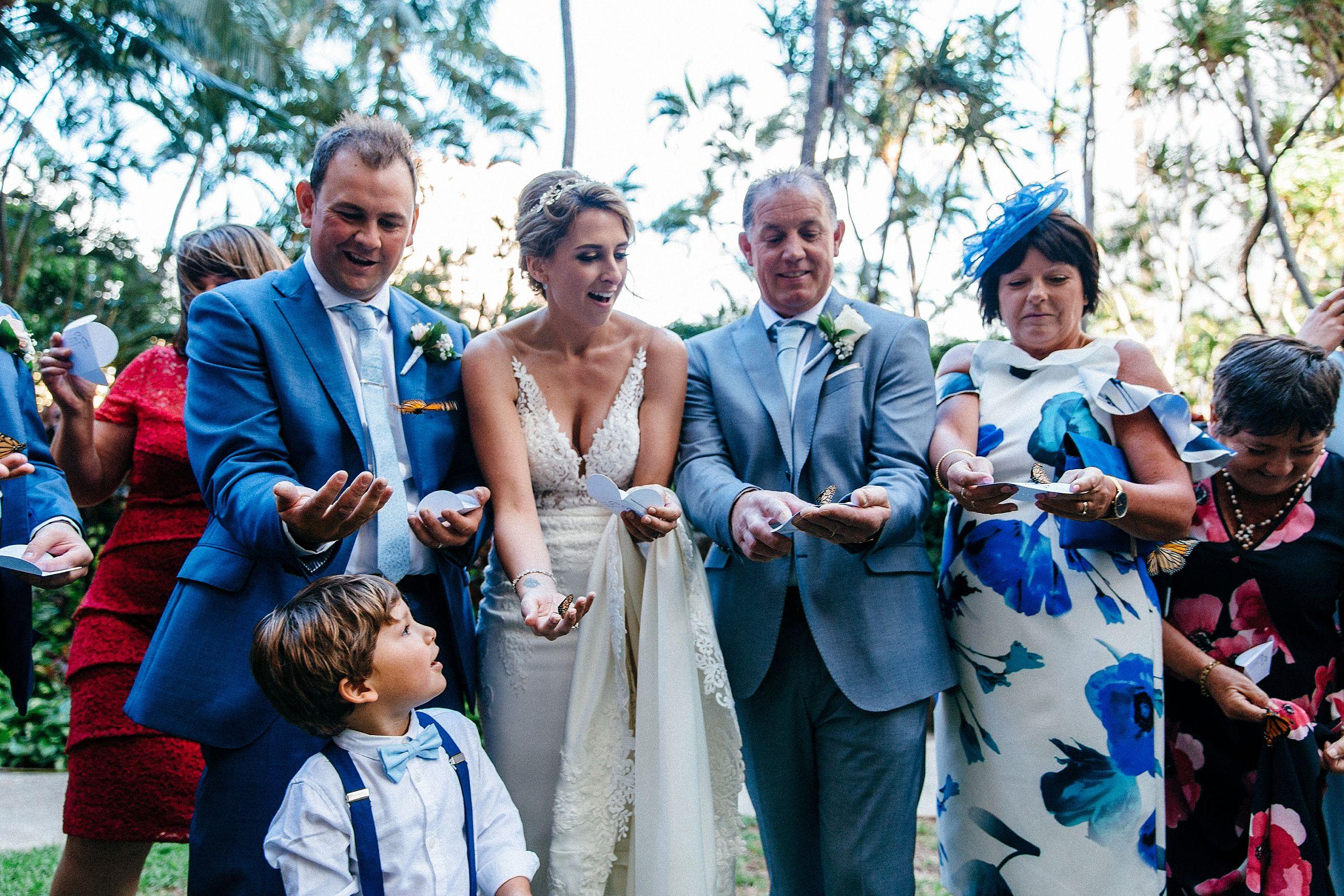 Waikiki Hawaii wedding butterfly release