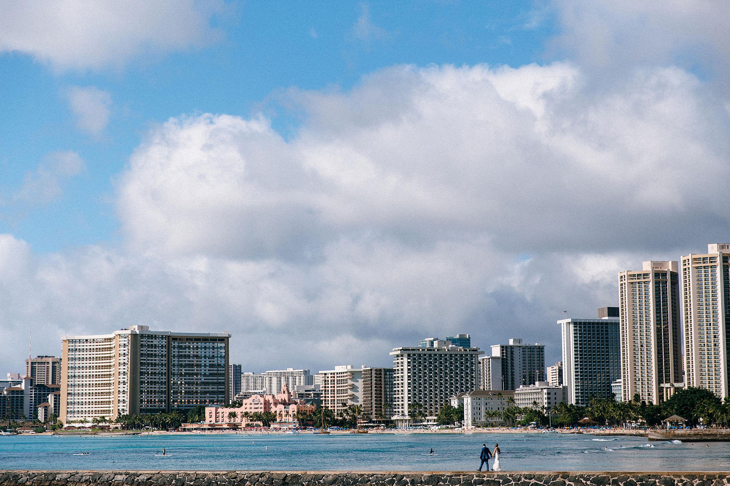 Waikiki Pier Wedding Portraits in Honolulu