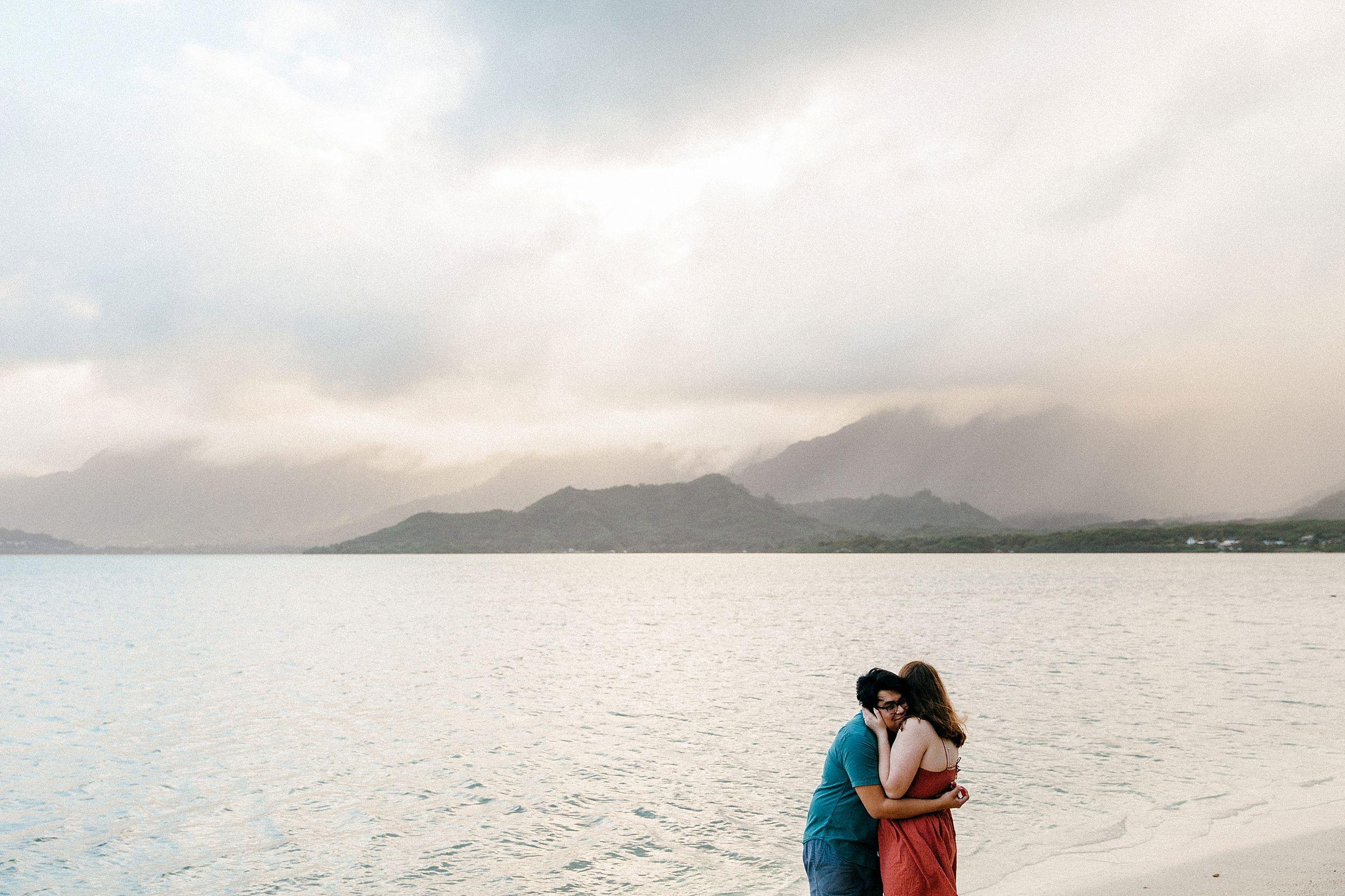 Emotional Surprise Proposal at Chinaman's Hat in Kualoa