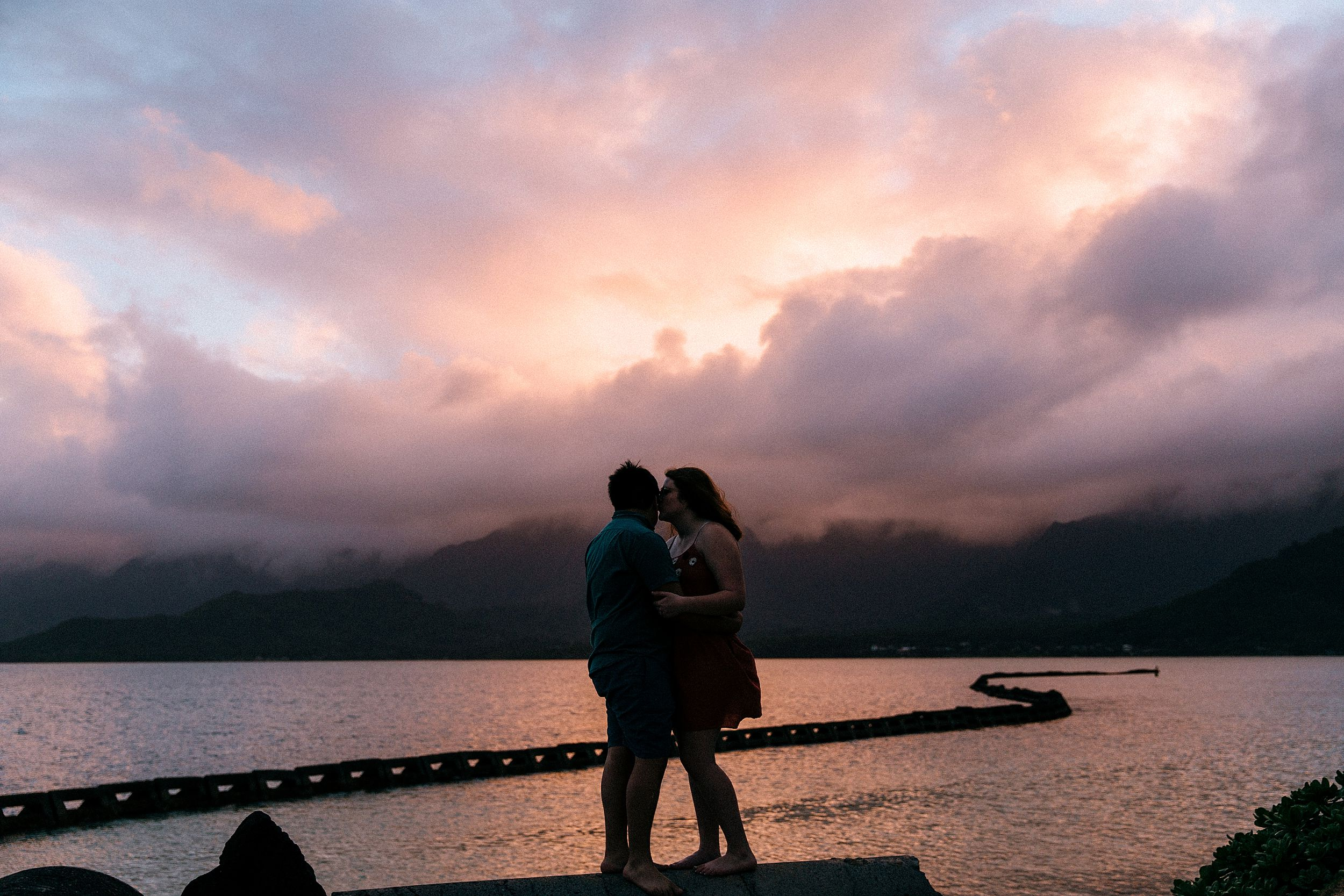 Sweet Engagement Session at Chinaman's Hat, North Shore Oahu