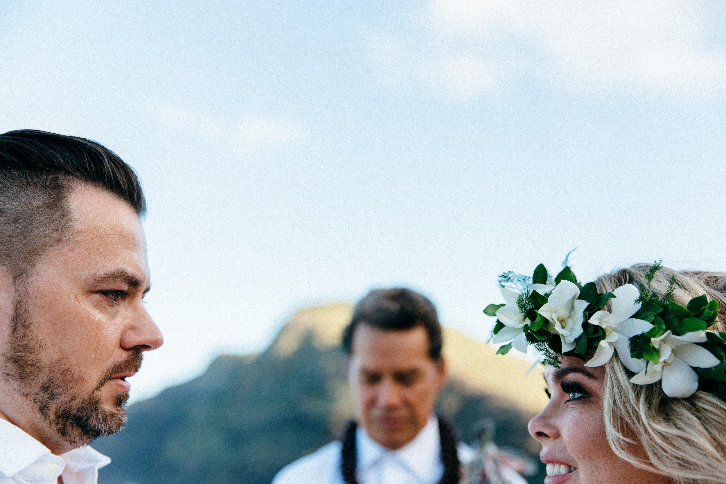 Megan & Travis's emotional wedding vows during their elopement at Makapuu Beach, Honolulu, Hawaii.