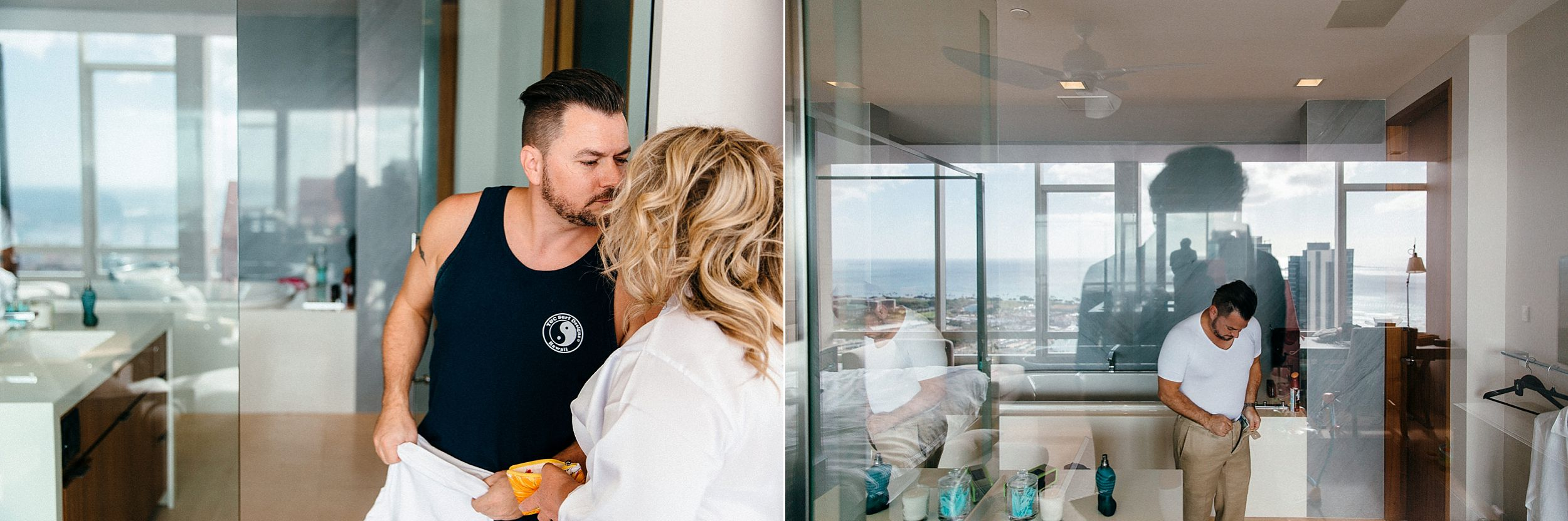 Wedding day getting ready images in a Honolulu high rise