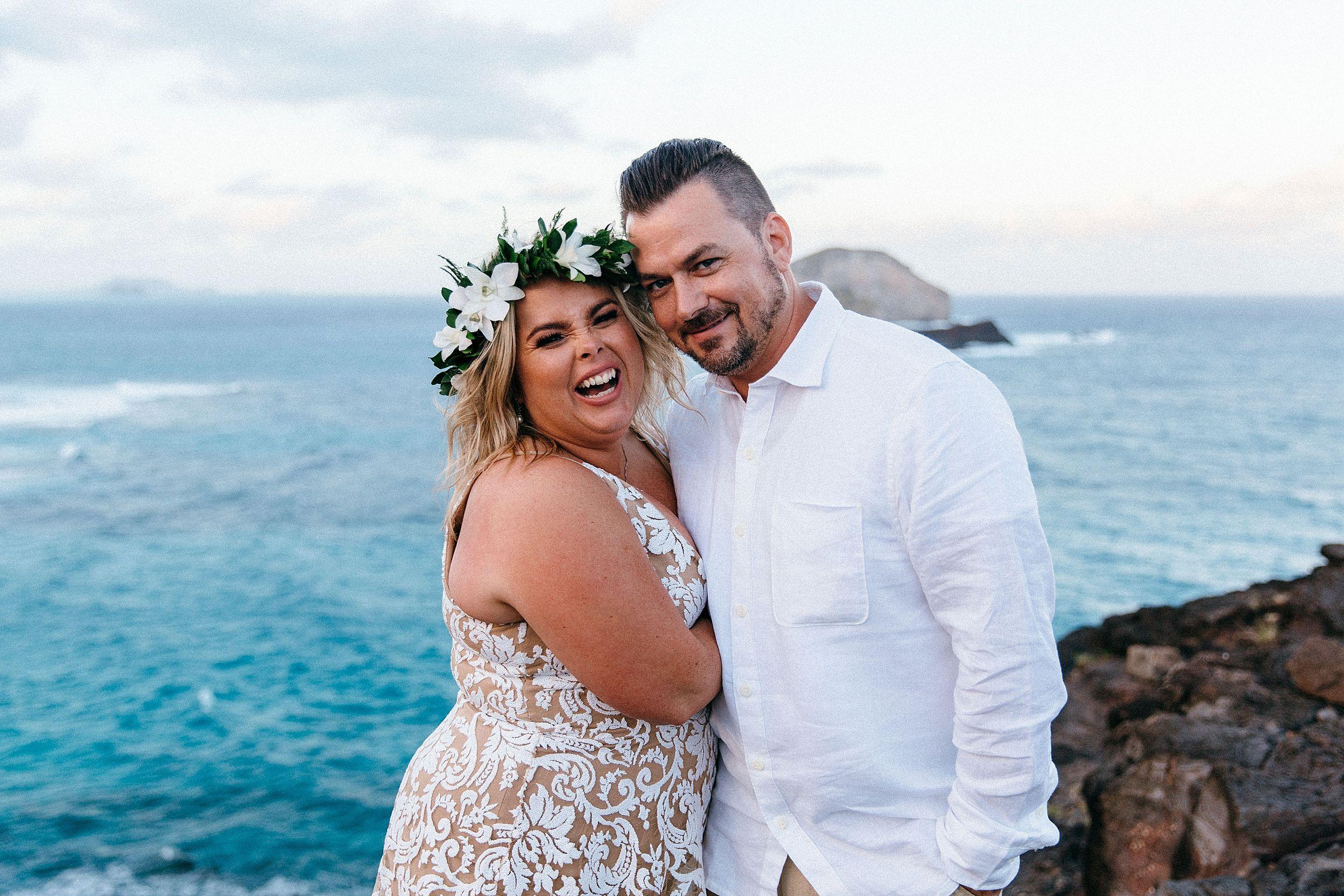 Wedding portraits at Makapuu Lighthouse and Lanai Lookout