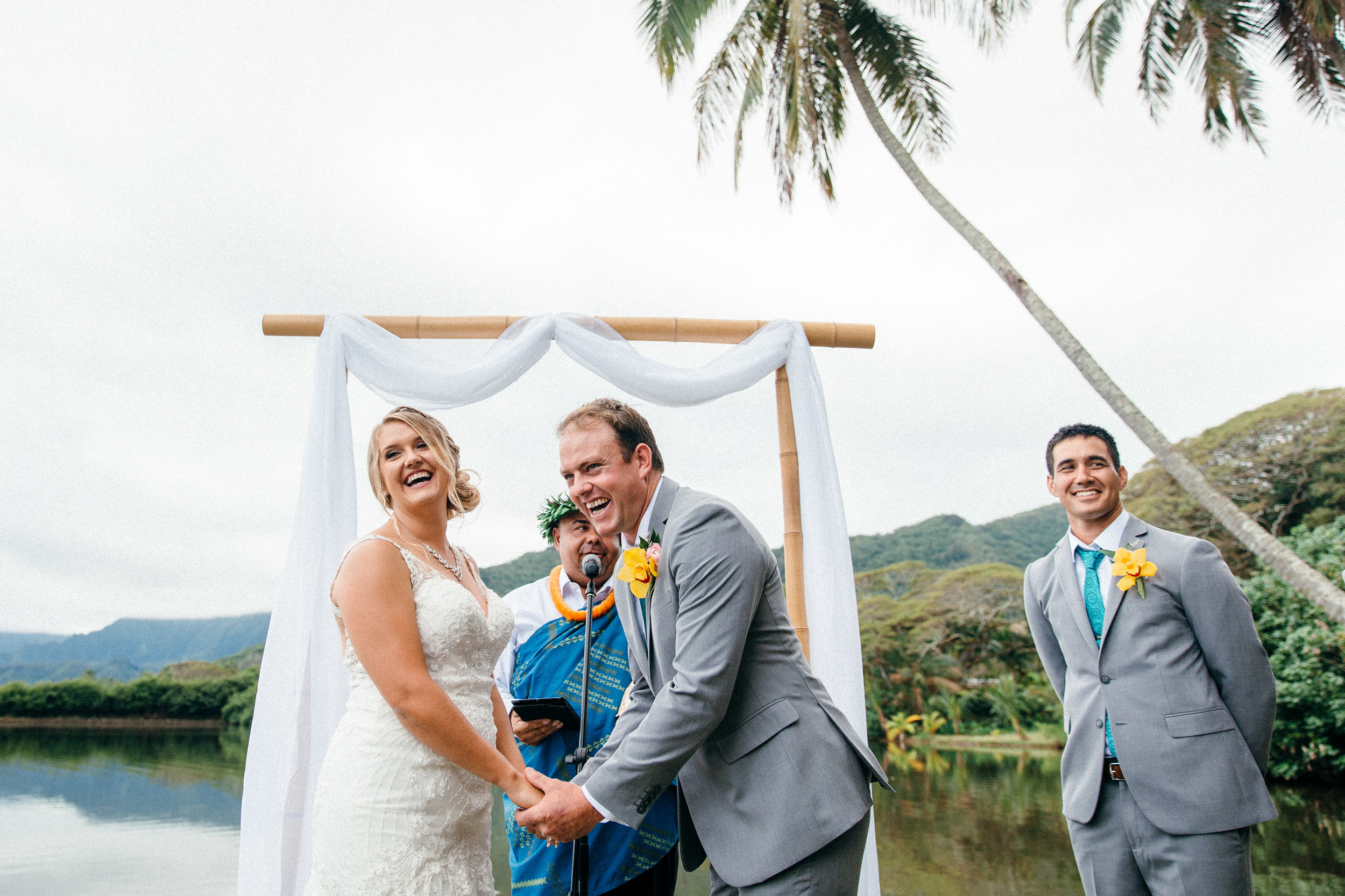 Dani & Mat's joyous and eventful traditional Hawaiian ceremony at Molii Gardens in Kualoa Ranch