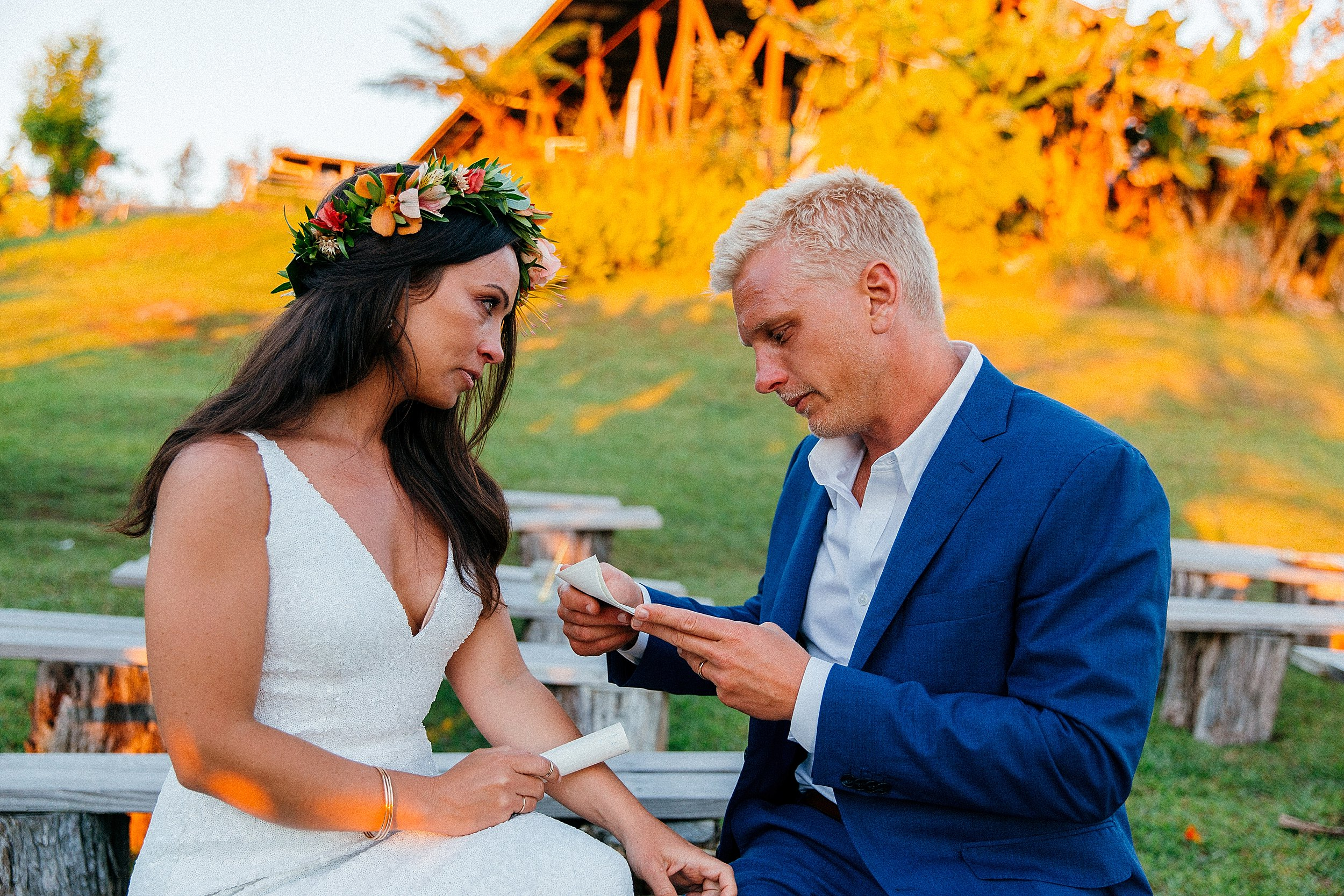 Emily & Jay exchange vows after their wedding day at Sunshower Coffee Farms in Kona, Hawaii.