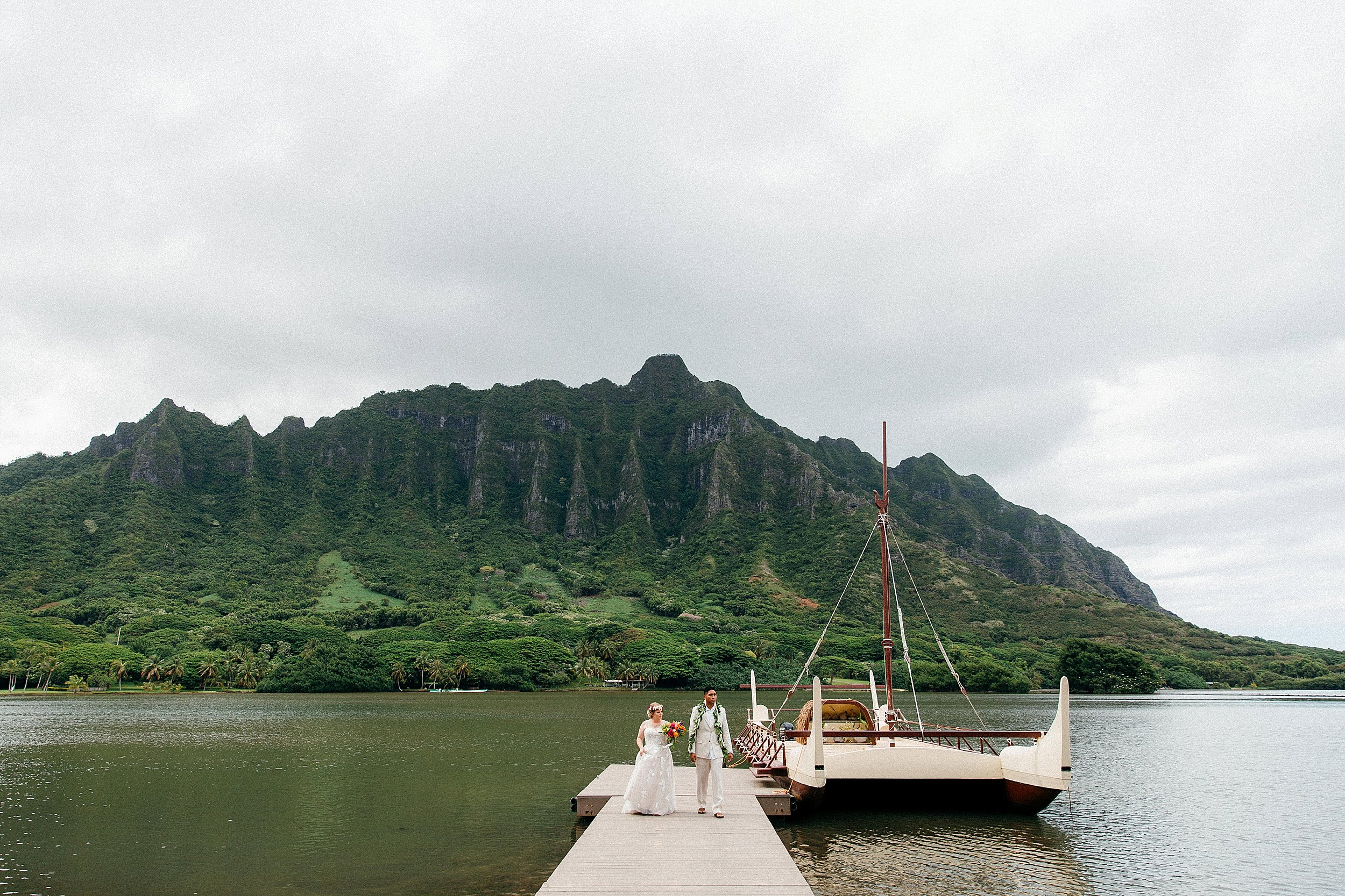 Small and Simple Vow Renewal Elopement at Kualoa Ranch's Secret Island