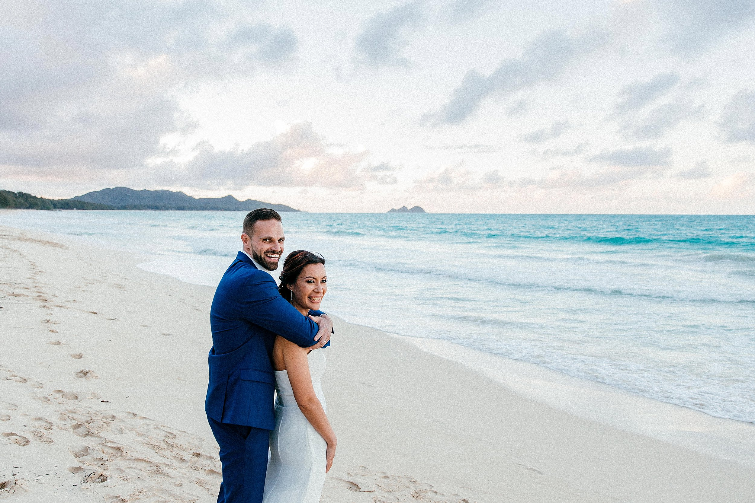 French Elopement at Waimanalo Beach in Oahu, Hawaii