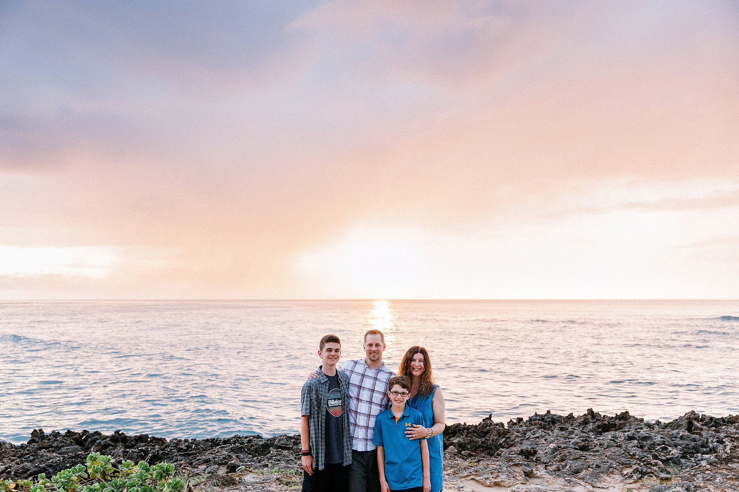 Family vacation photographs at Kawela Bay bunker in Turtle Bay Resort on Oahu.