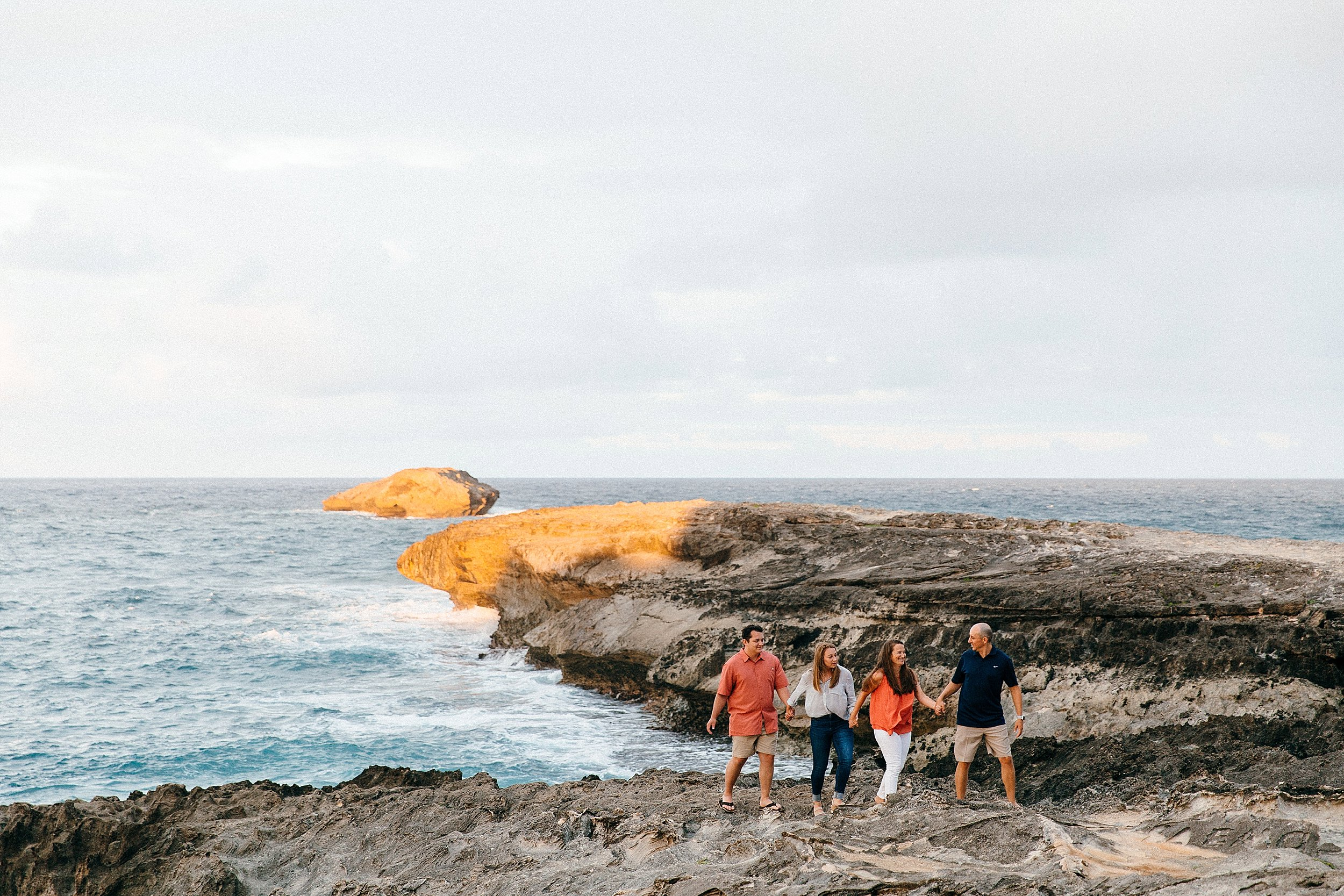 Sunset family session at Laie Point on the Northeast Shore of Oahu.