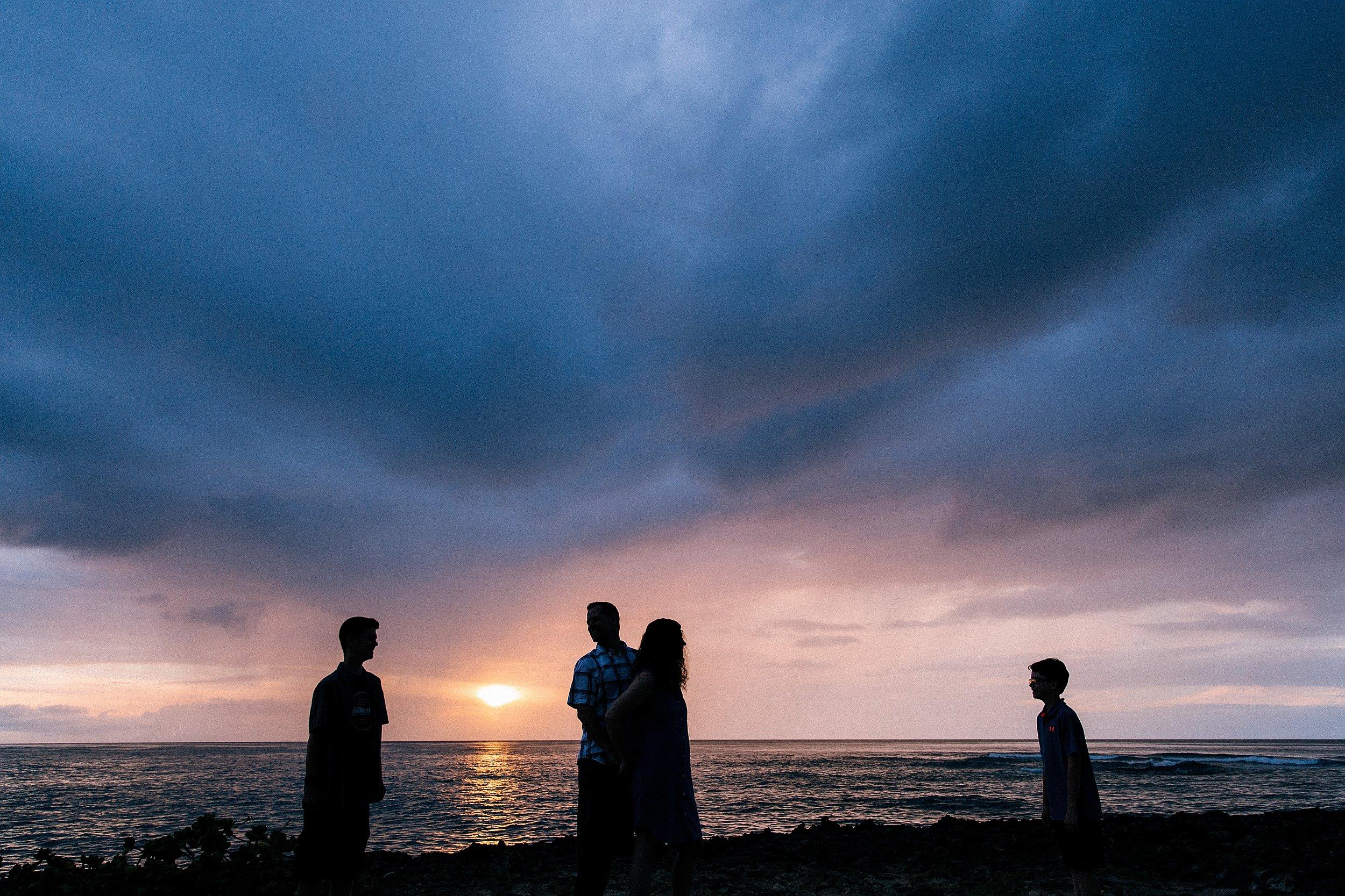 Sunset family photographs at Kawela Bay in Turtle Bay Resort.