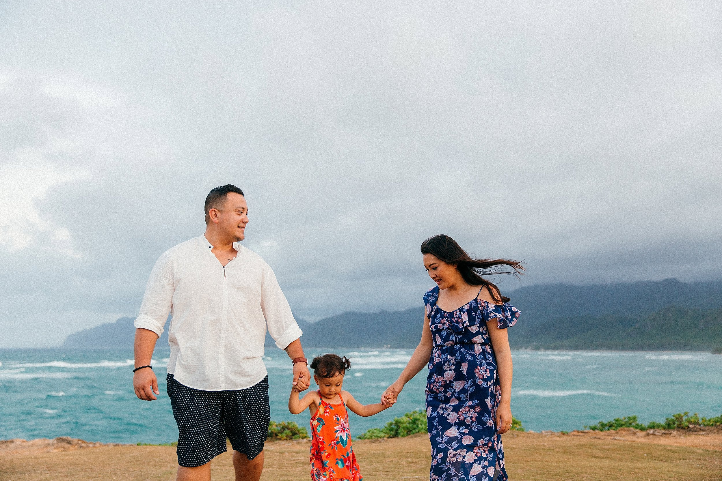 Vow Renewal and Family Session at Temple Beach in Laie