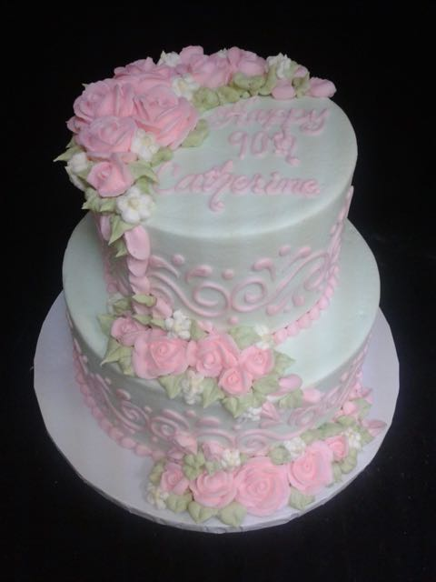 Tiered Roses & Scrolls