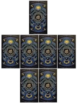 Card backs my very favourite deck, the beautiful Cosmic Tarot by Norbert Losche.