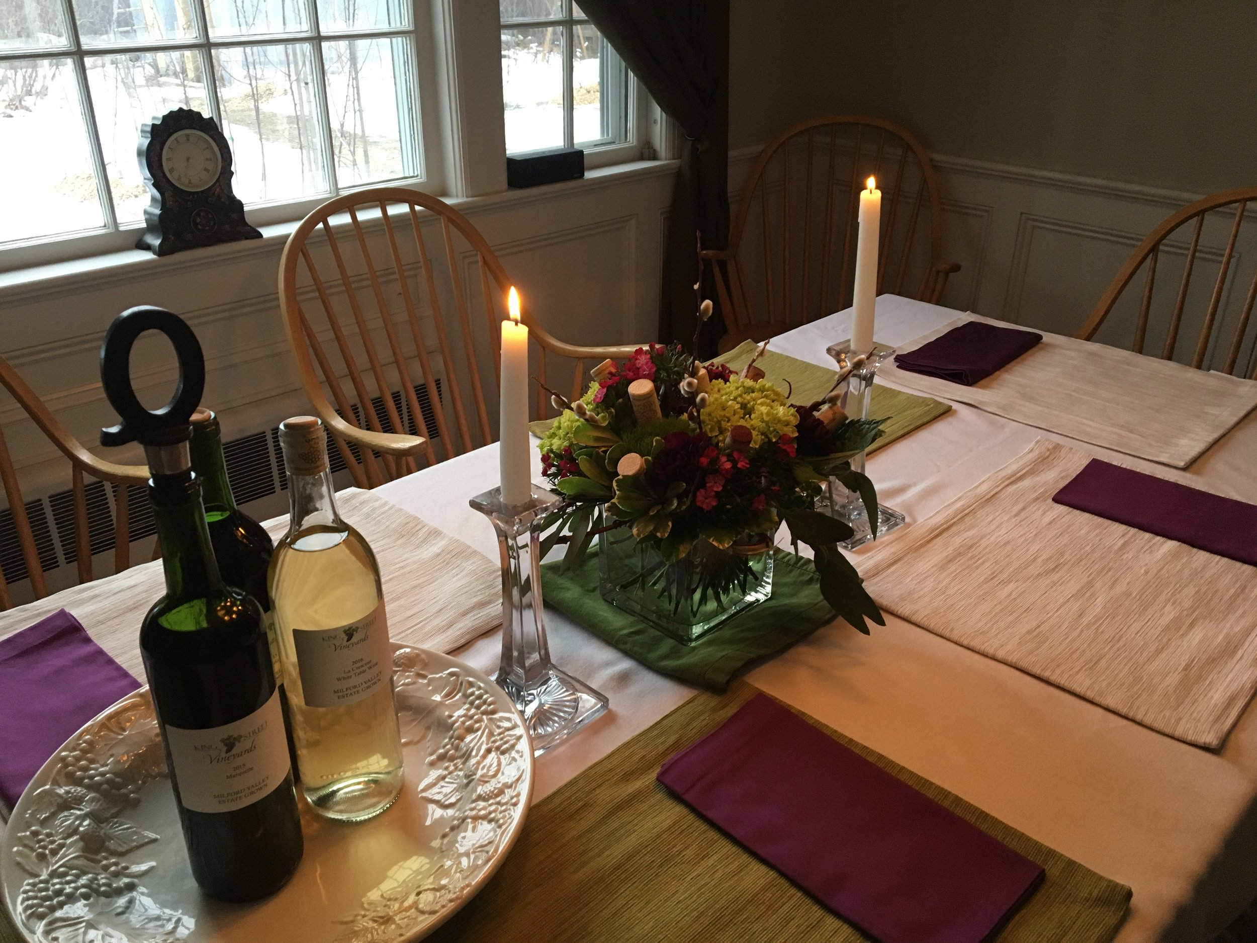 Preparing for an evening of great fun, wine, entertainment and tapas. Come join Vintner and Private Tapas Chef E. Emerson Quigley some Friday or Saturday evening from 7:00-9:00 pm for a very unique experience in beautiful Milford NH. Call 603-672-7000 to make your reservations.
