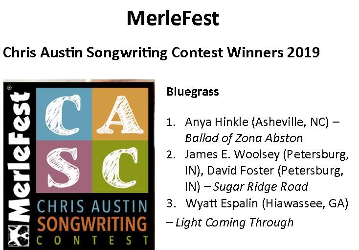 We are so humbled to be selected as one of the bluegrass songwriter competition winners again this year! What a great group of songwriters and such amazing talent. You can find Sugar Ridge Road on our new cd, Long Ago! Check it out by clicking the link below!