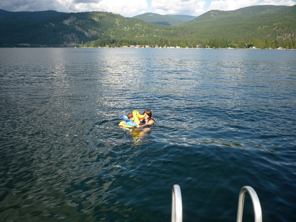 A little swim off the deep-end of the dock.