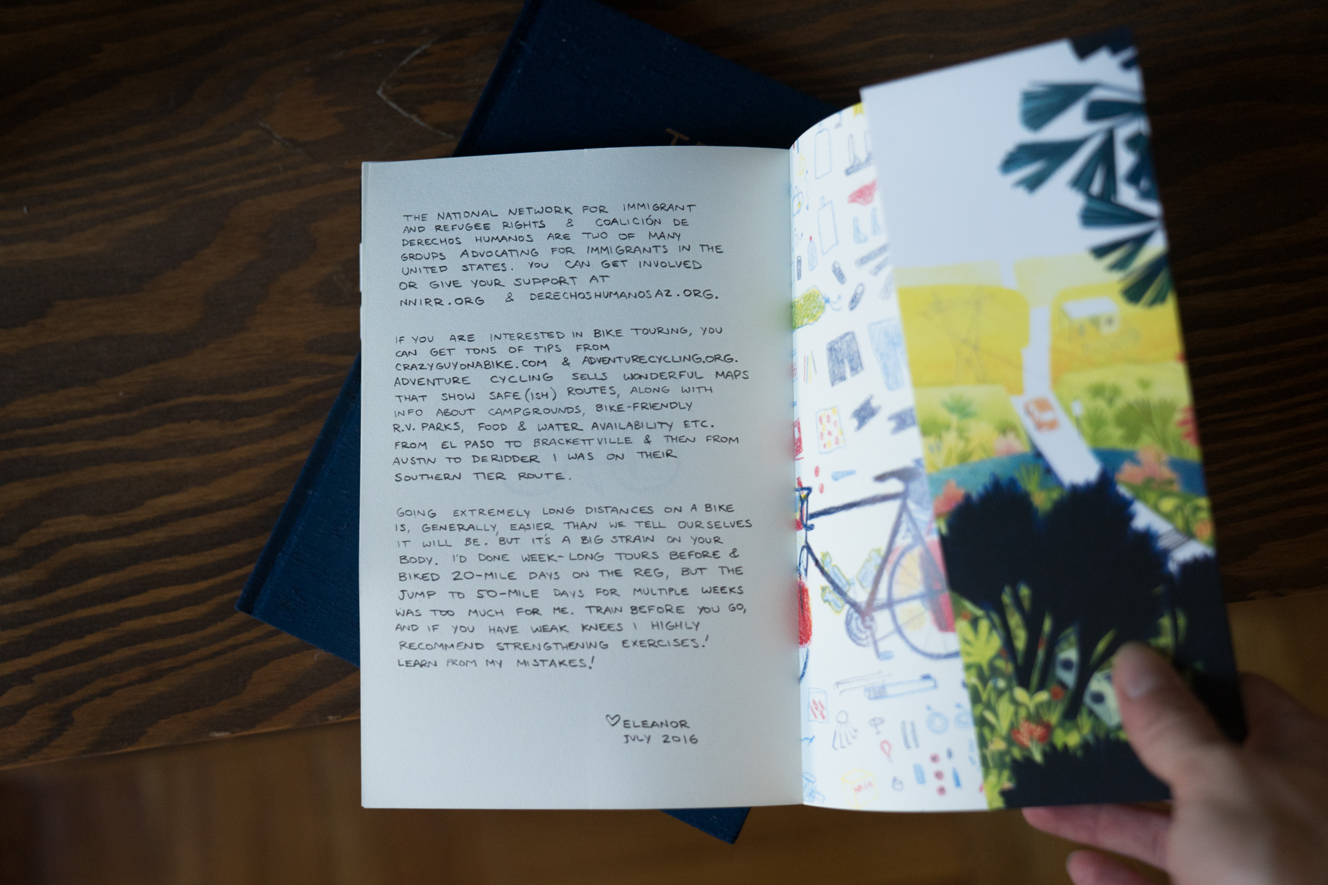 In her journal she has several border related stories, and at the end of the book it has an important note on immigrant/refugee resources. (I like being able to support artists who are openly pro immigrants rights! Amongst other important political stances!)