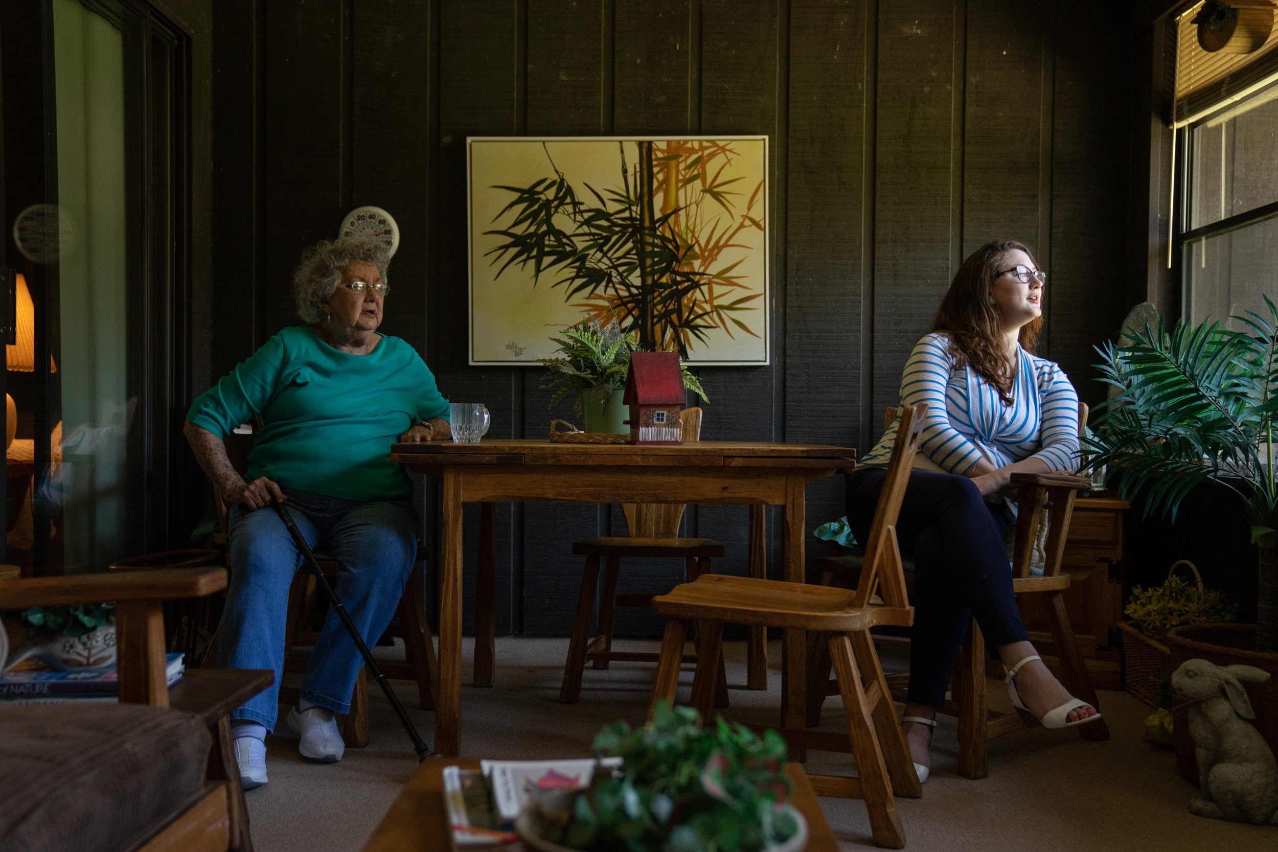 """Mimi"" and Jenna sitting down. Mimi's house."