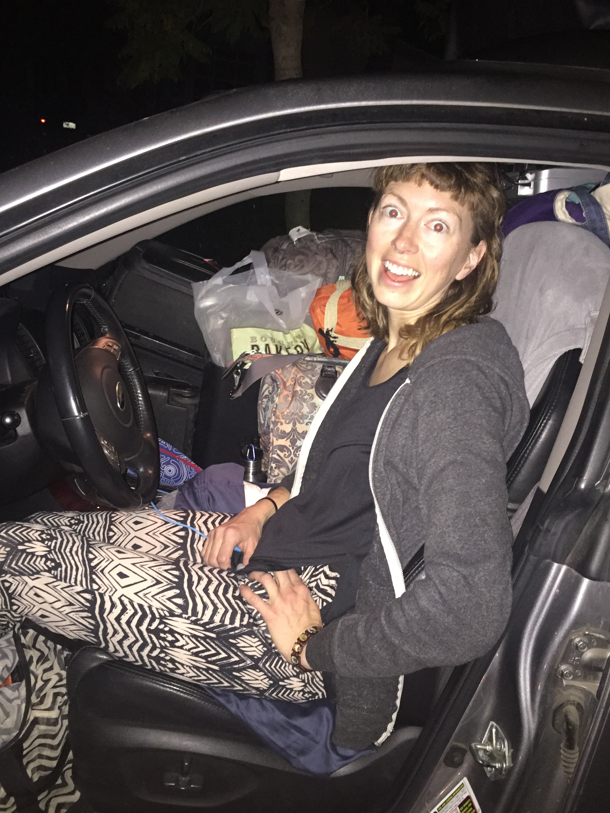 Crazy eyes, crazy pants, loaded car, here we go!