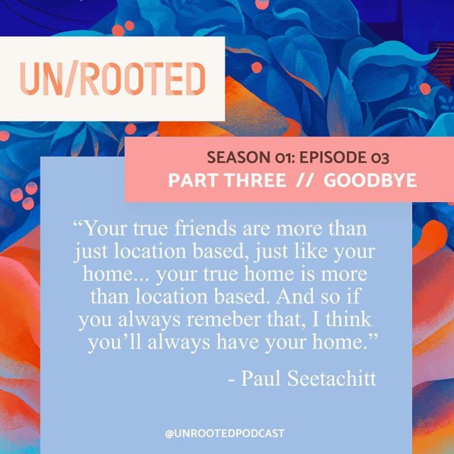 Goodbyes are hard, but friendships can continue and home can follow you. 🧡💙 Listen to episode 3 of UN/ROOTED wherever you listen to your podcasts! • #bittersweetsymphony #whereishome #goodbyesarehard #longdistancefriendships #unrooted