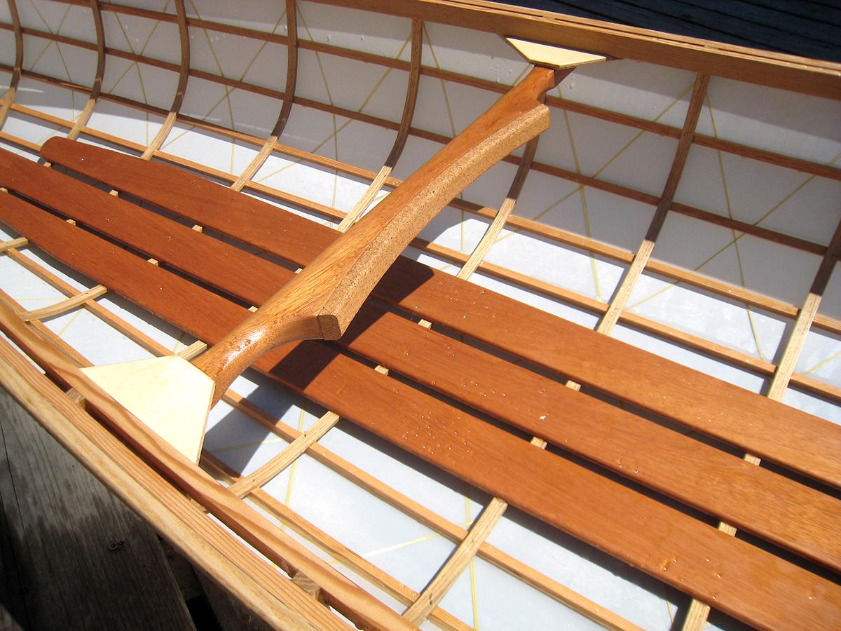 Geodesic Aerolite Arrow 14' | 2006 | oak, fir, dacron, kevlar | Haystack workshop