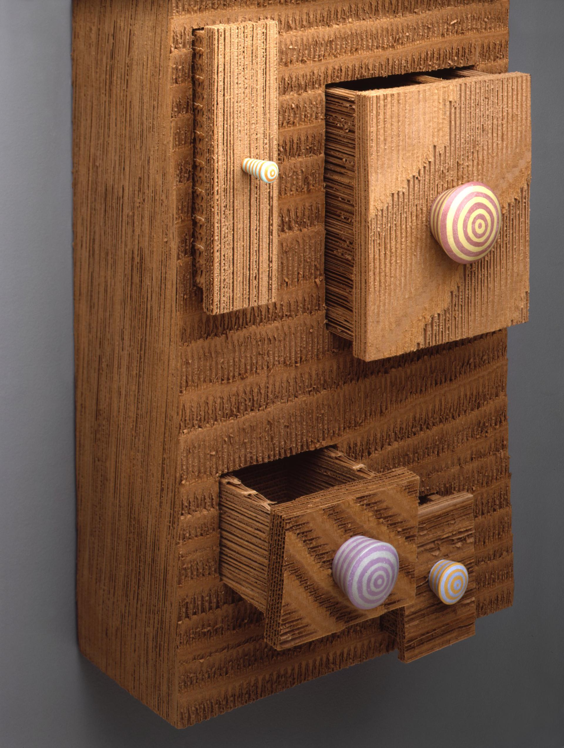 Chunk of Drawers I 1990 I corrugated paper, wood, paint I 29 x 15 x 9