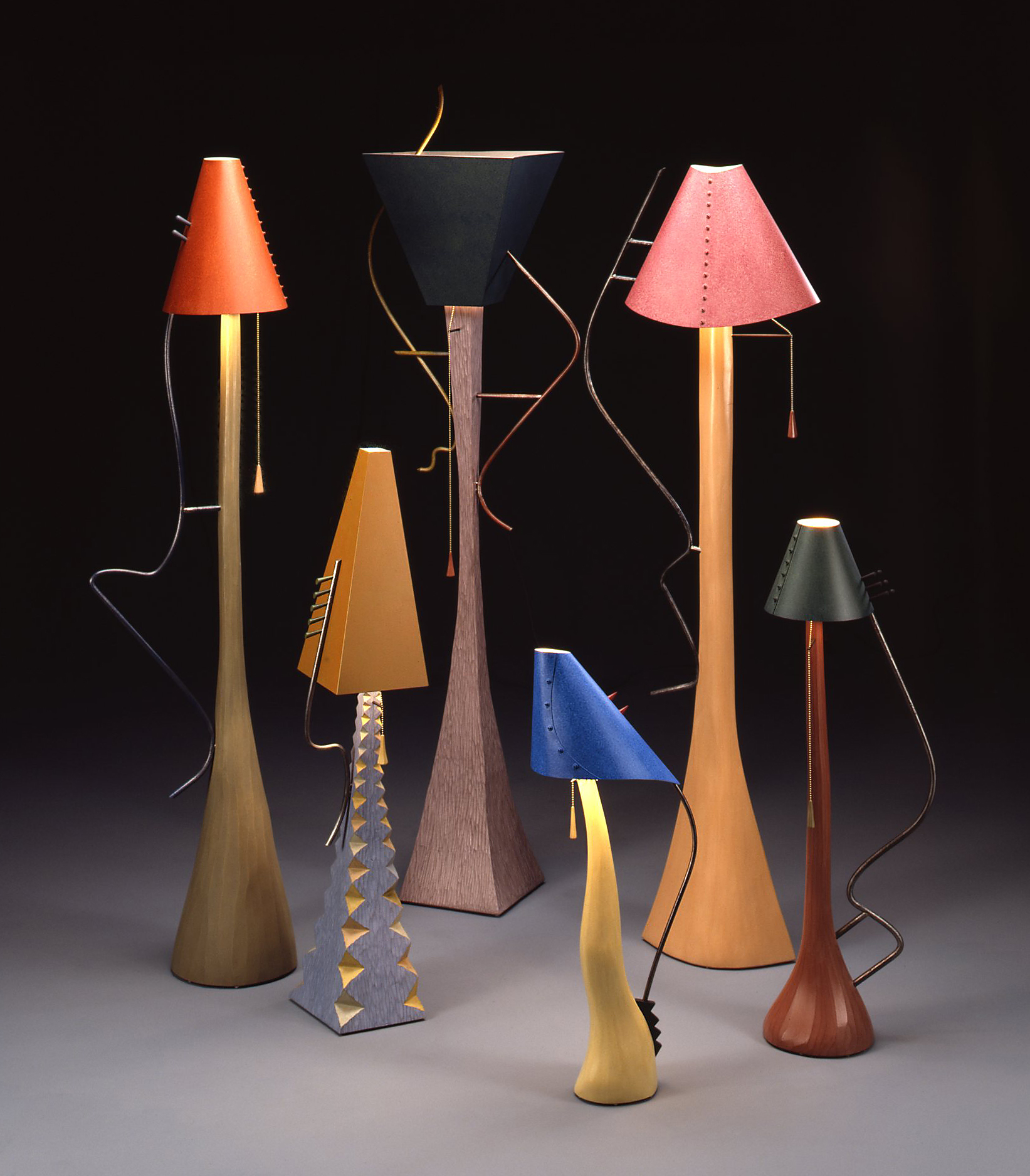 Lamps: (left to right) Enid, Barney, Bertha, Lulubell, Petunia, Chester I Tom Loeser and Charles Crowley I 1987 I wood, steel, aluminum, paint