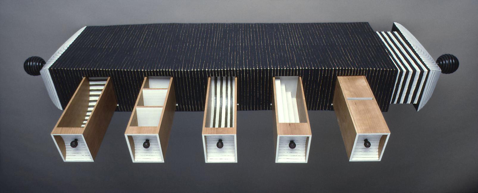 10 Little Boxes I 1992 I wood, paint I 10x 55 x 13