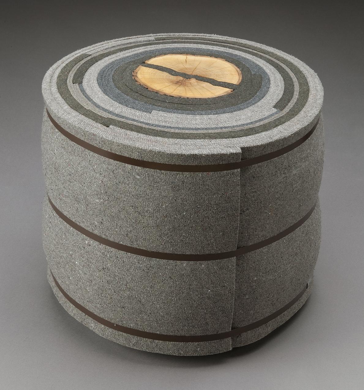 Roll Up 2 | 2007 | felt, firewood, steel | 16 x 19